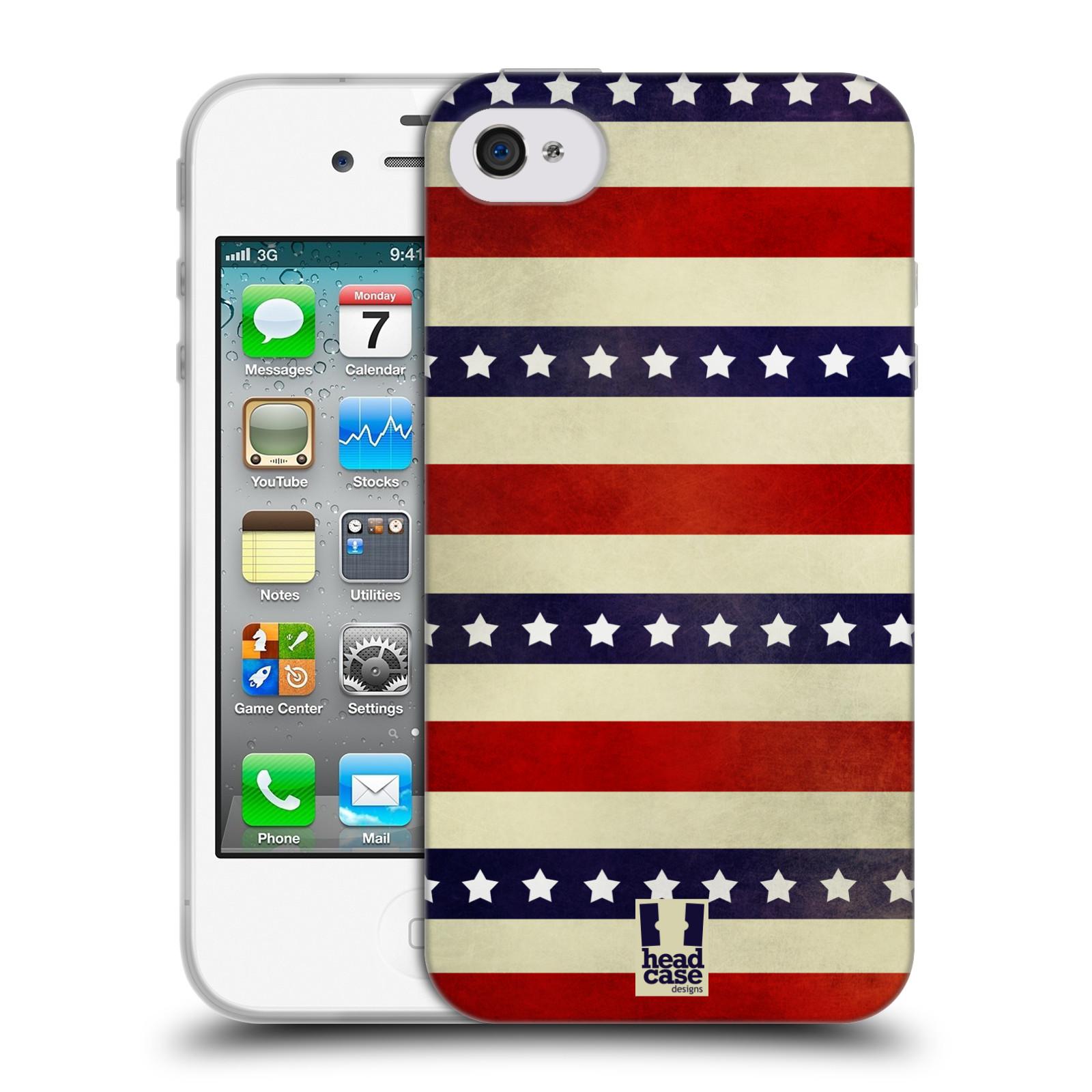 HEAD CASE silikonový obal na mobil Apple Iphone 4/4S vzor USA VLAJKA 3 RUDÉ PRUHY