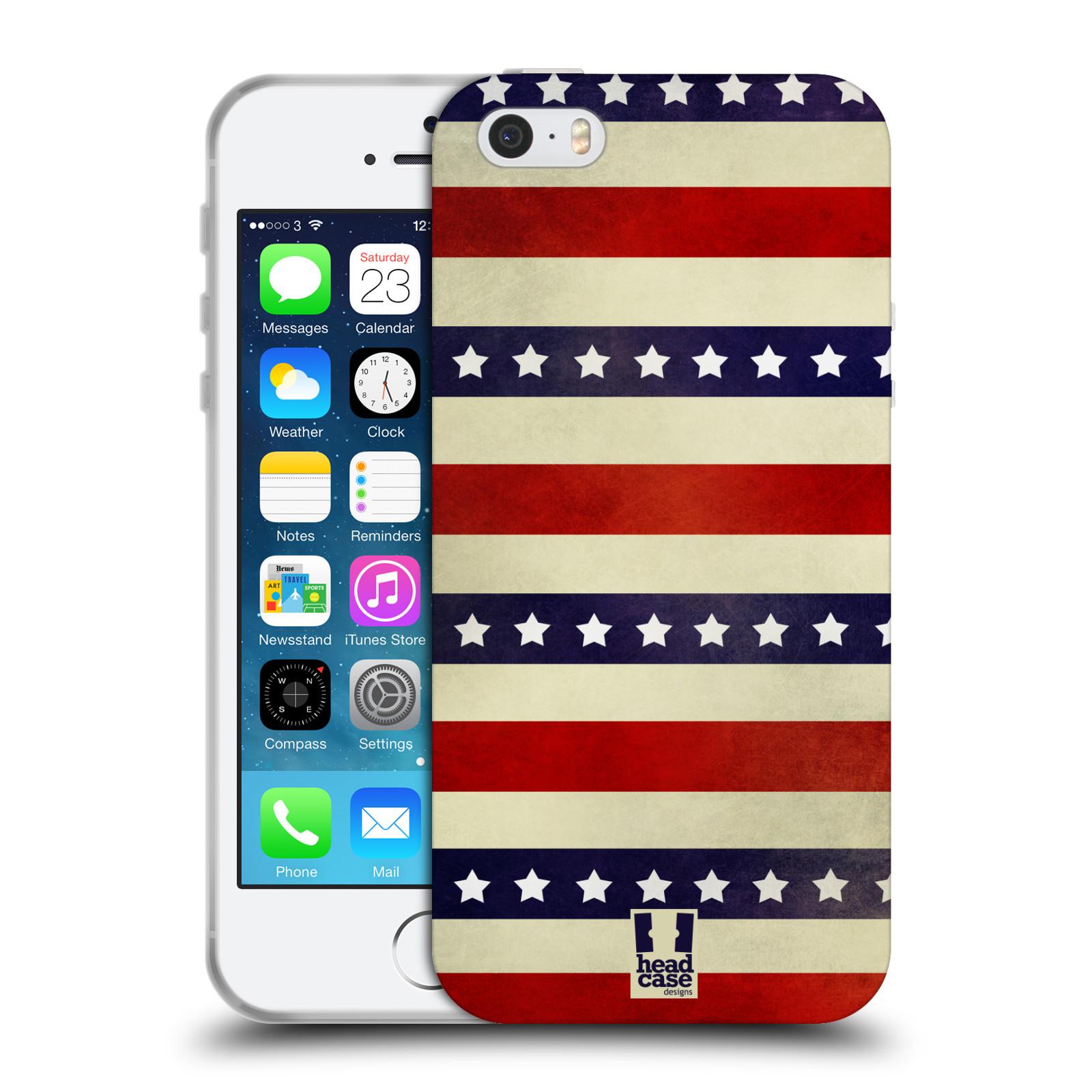 HEAD CASE silikonový obal na mobil Apple Iphone 5/5S vzor USA VLAJKA 3 RUDÉ PRUHY