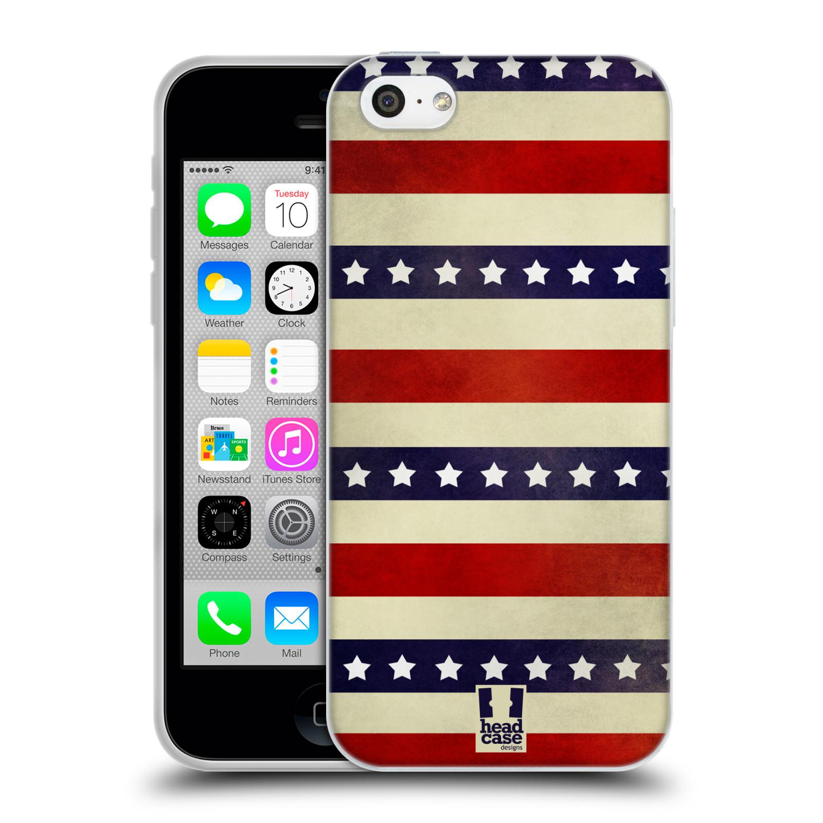 HEAD CASE silikonový obal na mobil Apple Iphone 5C vzor USA VLAJKA 3 RUDÉ PRUHY