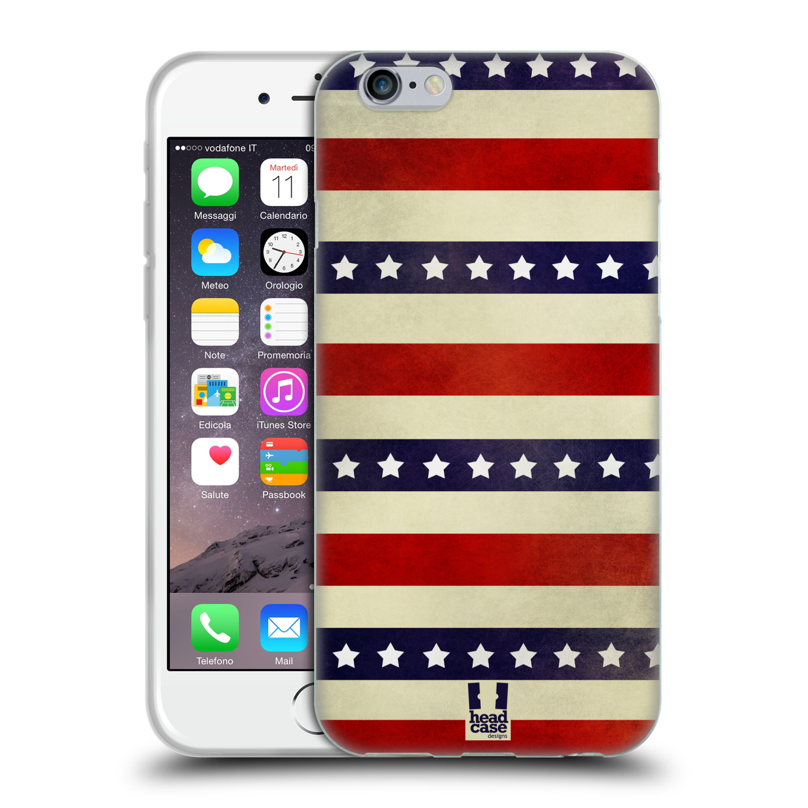 HEAD CASE silikonový obal na mobil Apple Iphone 6/6S vzor USA VLAJKA 3 RUDÉ PRUHY