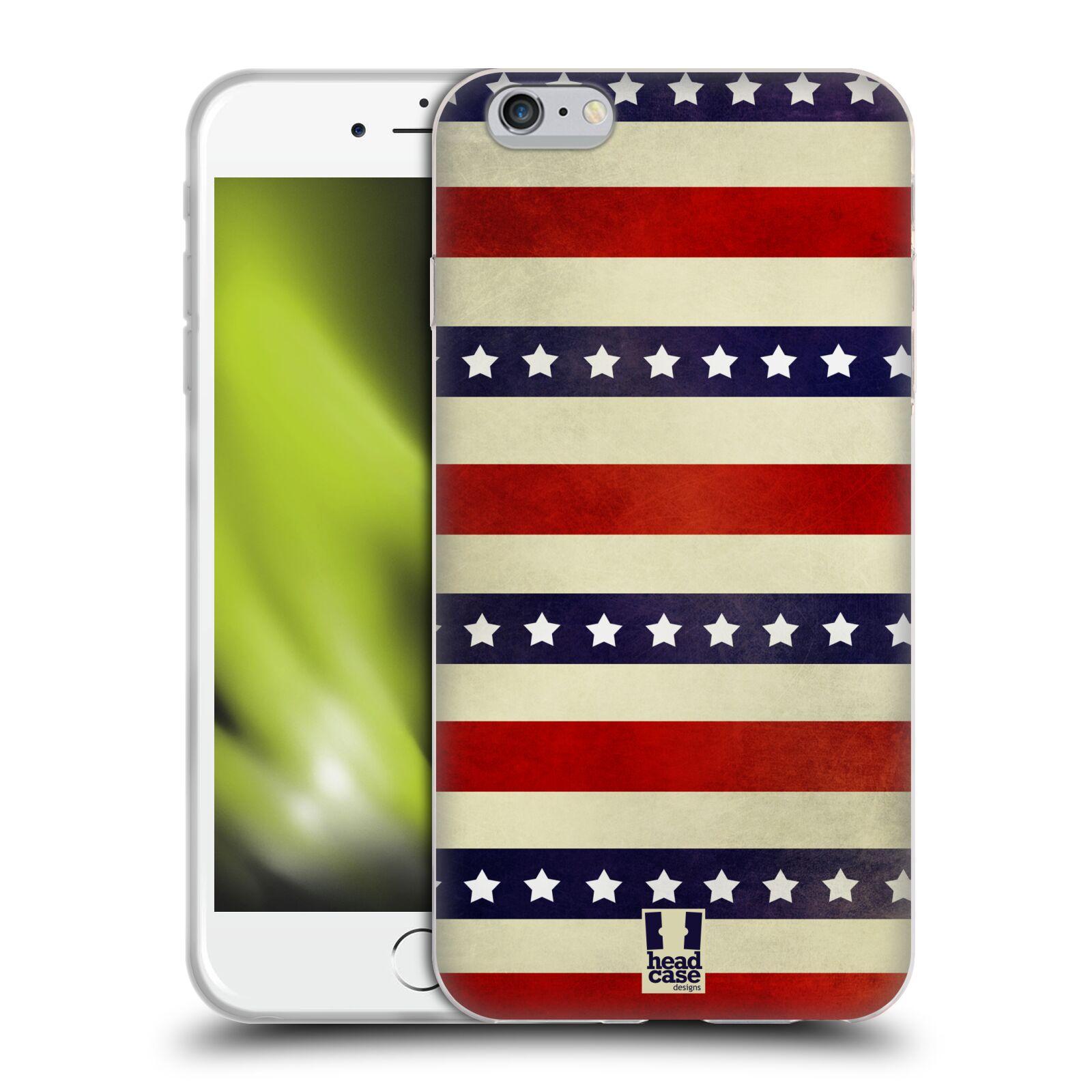 HEAD CASE silikonový obal na mobil Apple Iphone 6 PLUS/ 6S PLUS vzor USA VLAJKA 3 RUDÉ PRUHY