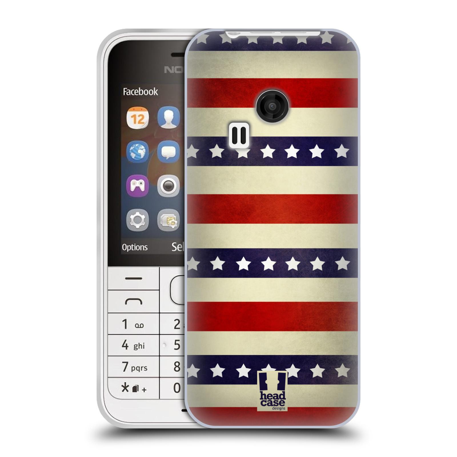 HEAD CASE silikonový obal na mobil NOKIA 220 / NOKIA 220 DUAL SIM vzor USA VLAJKA 3 RUDÉ PRUHY