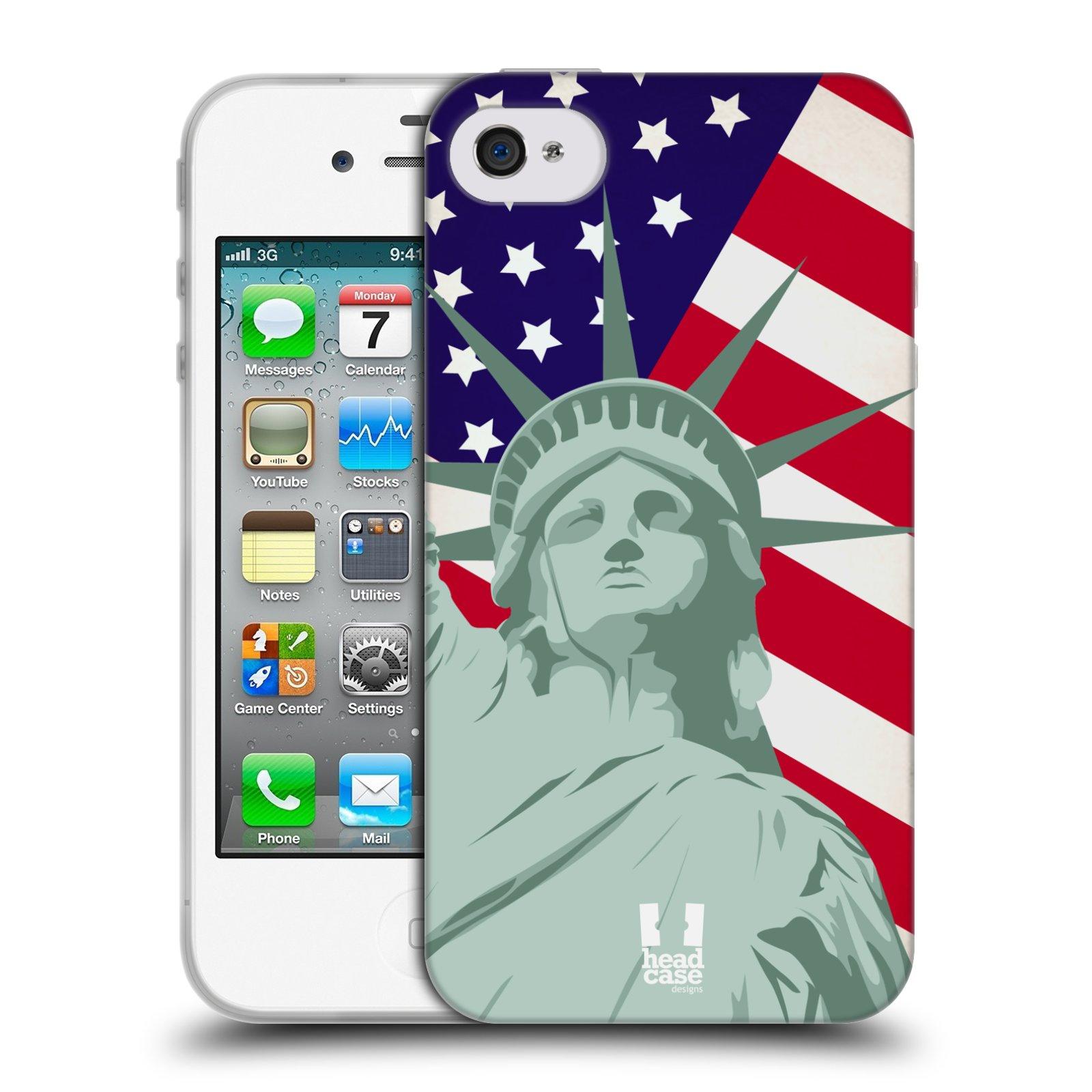 HEAD CASE silikonový obal na mobil Apple Iphone 4/4S vzor Americká pýcha SOCHA SVOBODY