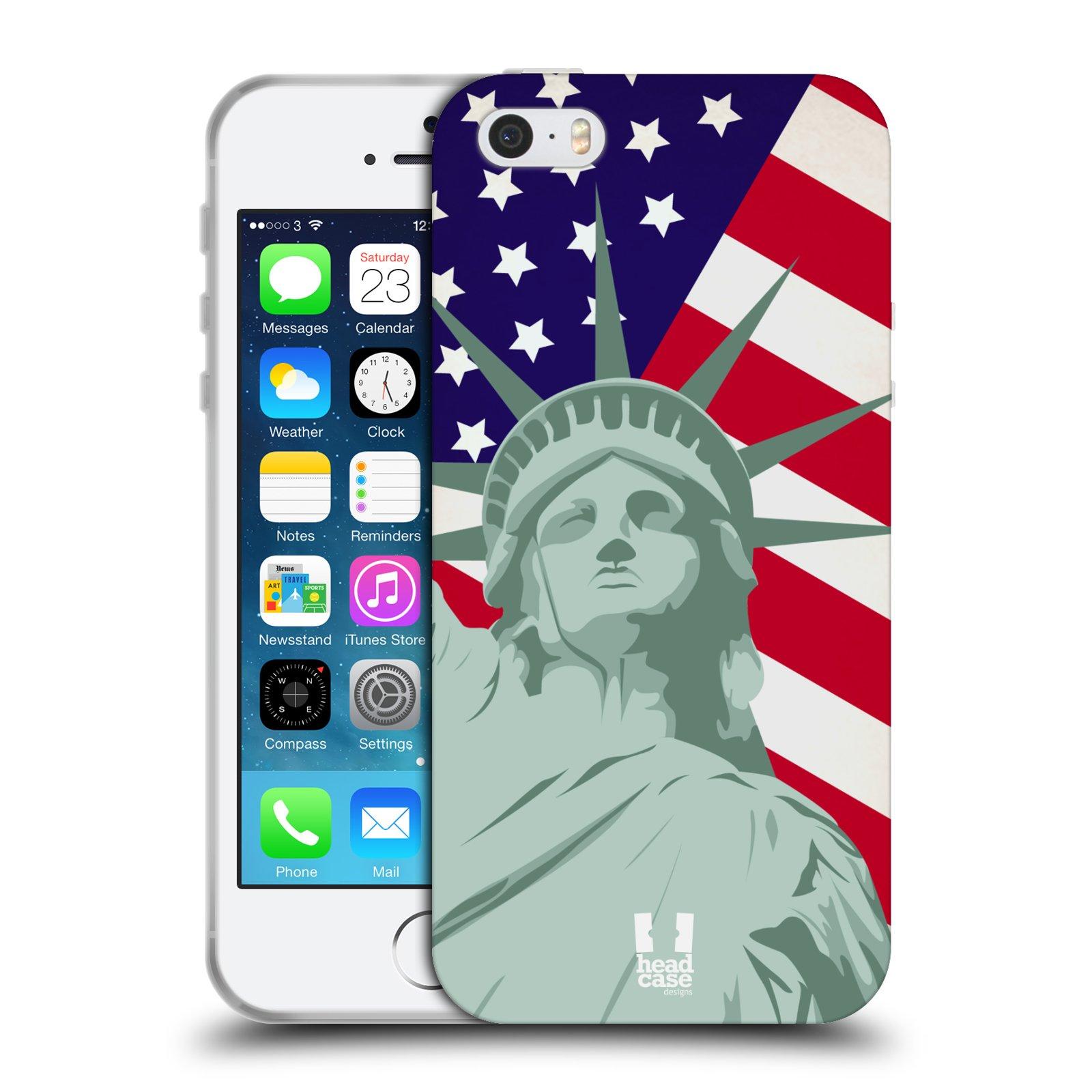 HEAD CASE silikonový obal na mobil Apple Iphone 5/5S vzor Americká pýcha SOCHA SVOBODY