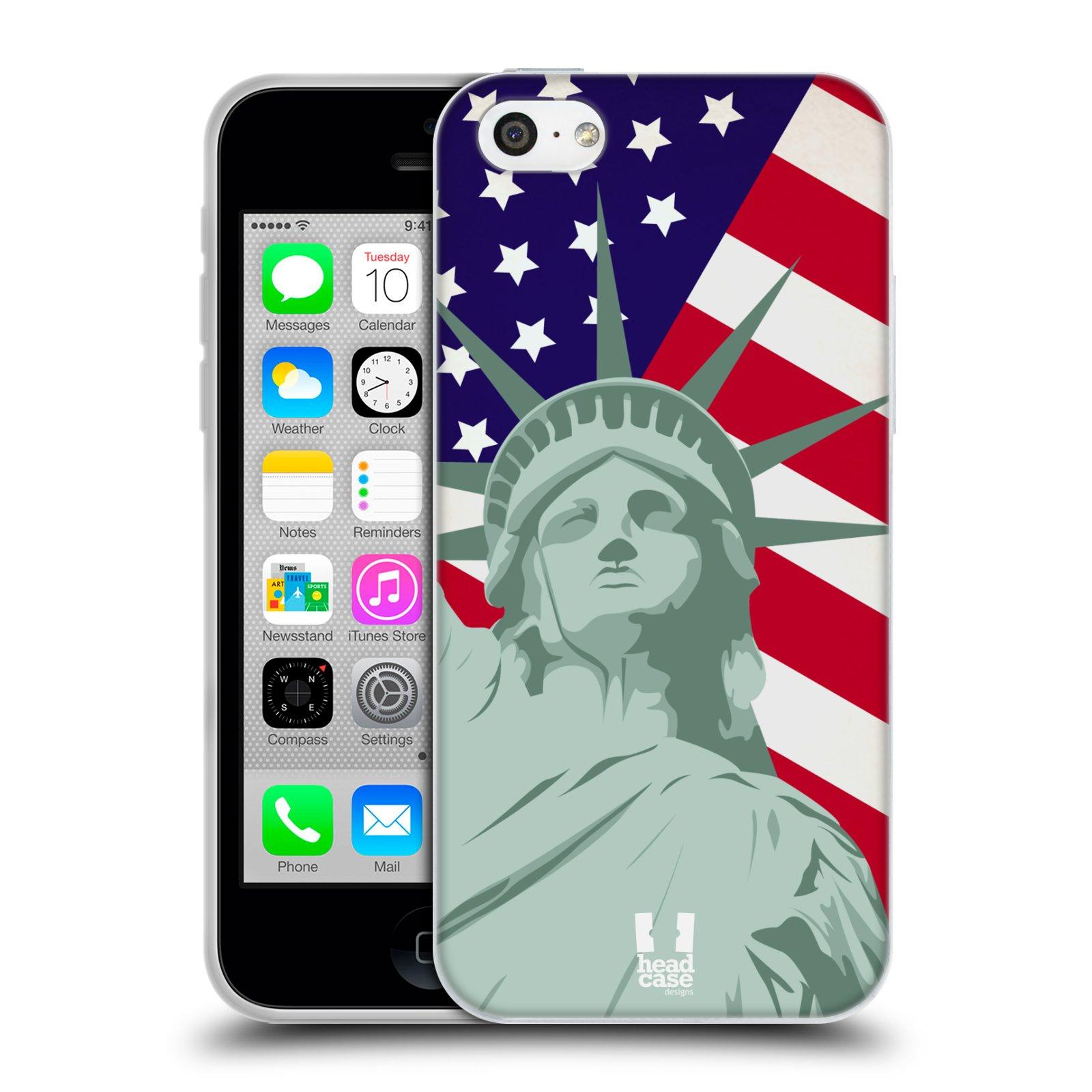 HEAD CASE silikonový obal na mobil Apple Iphone 5C vzor Americká pýcha SOCHA SVOBODY