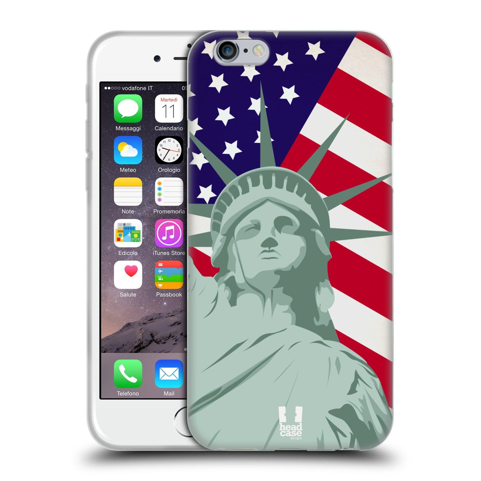 HEAD CASE silikonový obal na mobil Apple Iphone 6/6S vzor Americká pýcha SOCHA SVOBODY
