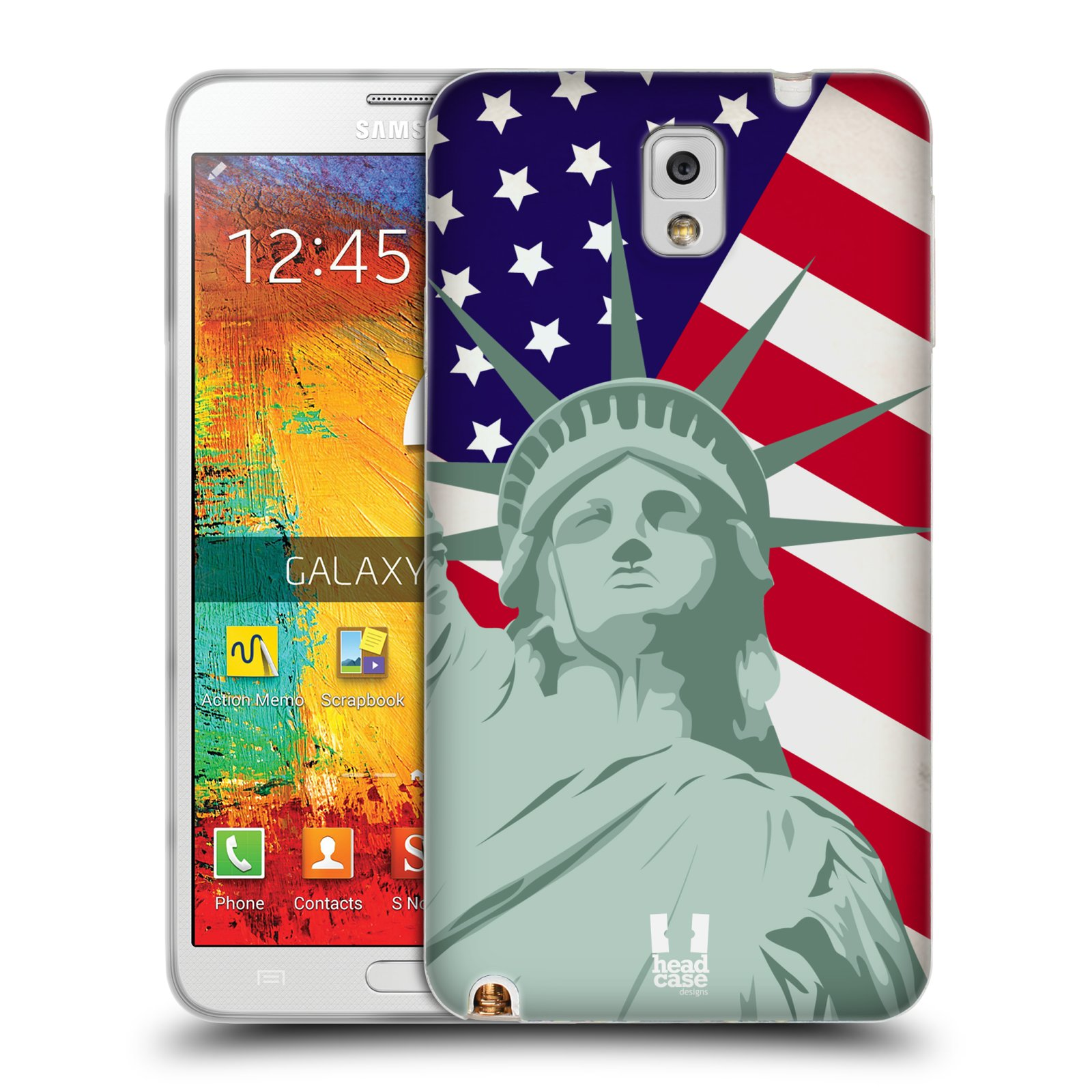 HEAD CASE silikonový obal na mobil Samsung Galaxy Note 3 (N9005) vzor Americká pýcha SOCHA SVOBODY