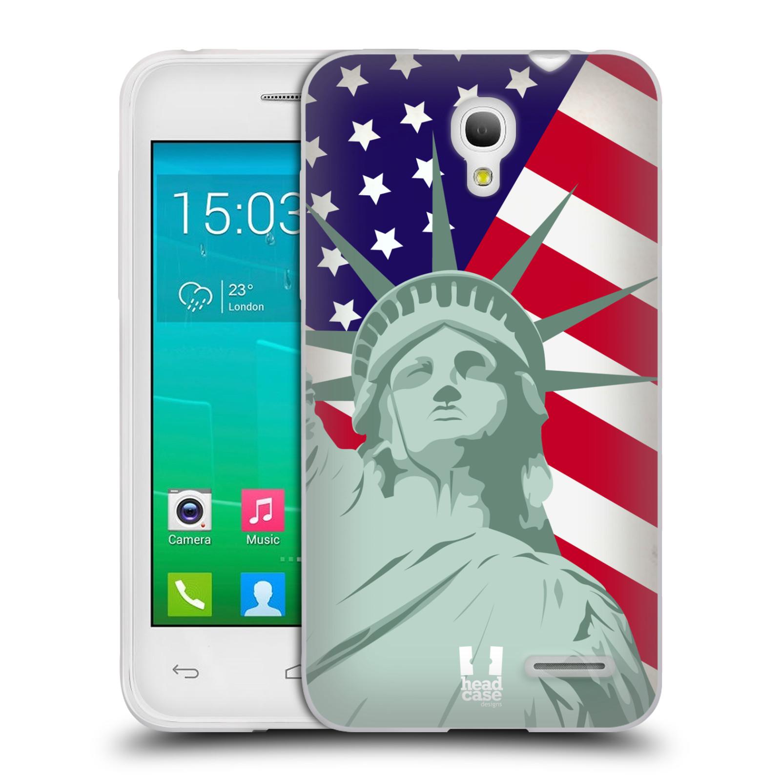 HEAD CASE silikonový obal na mobil Alcatel POP S3 OT-5050Y vzor Americká pýcha SOCHA SVOBODY