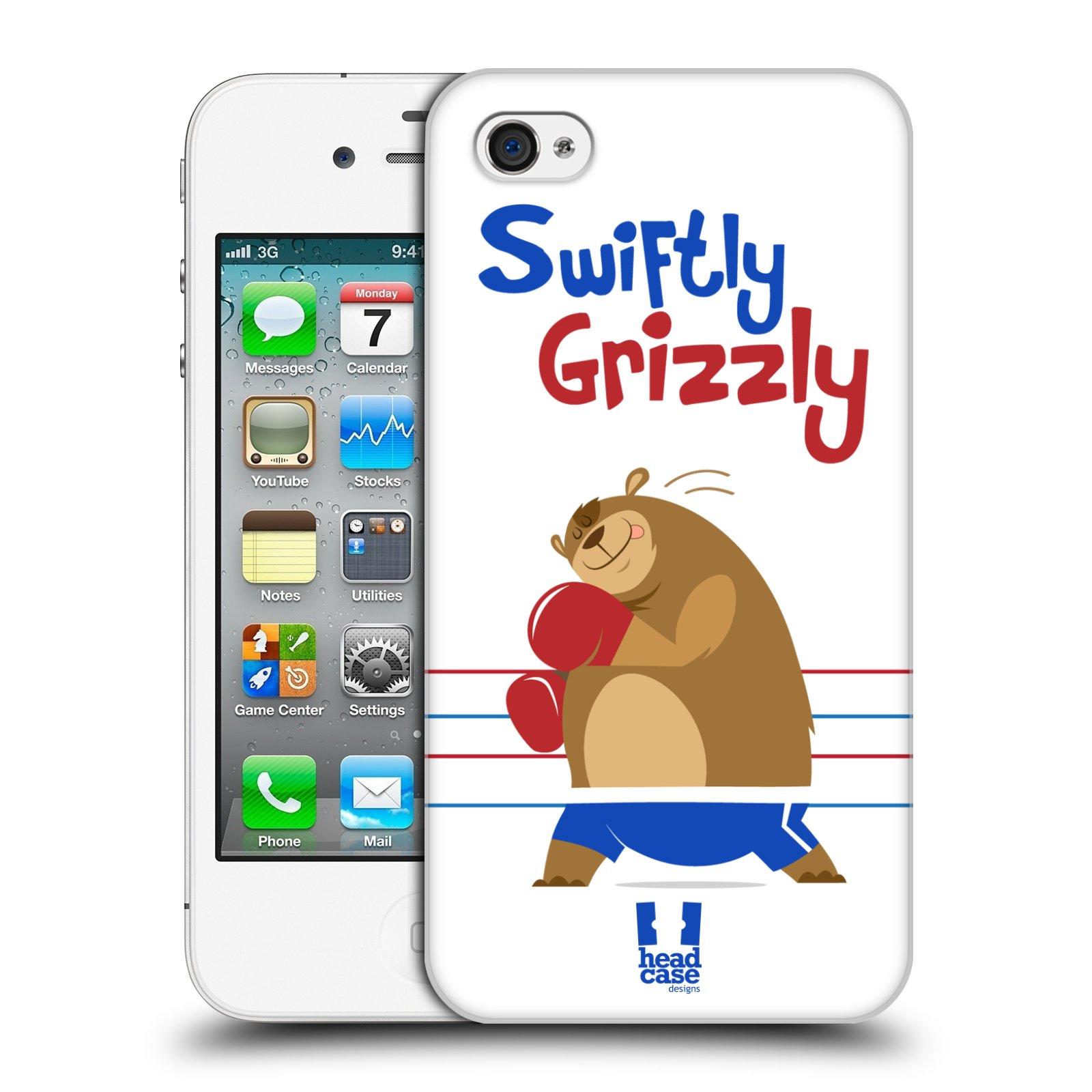 HEAD CASE plastový obal na mobil Apple Iphone 4/4S vzor Zvířátka atleti medvěd boxér