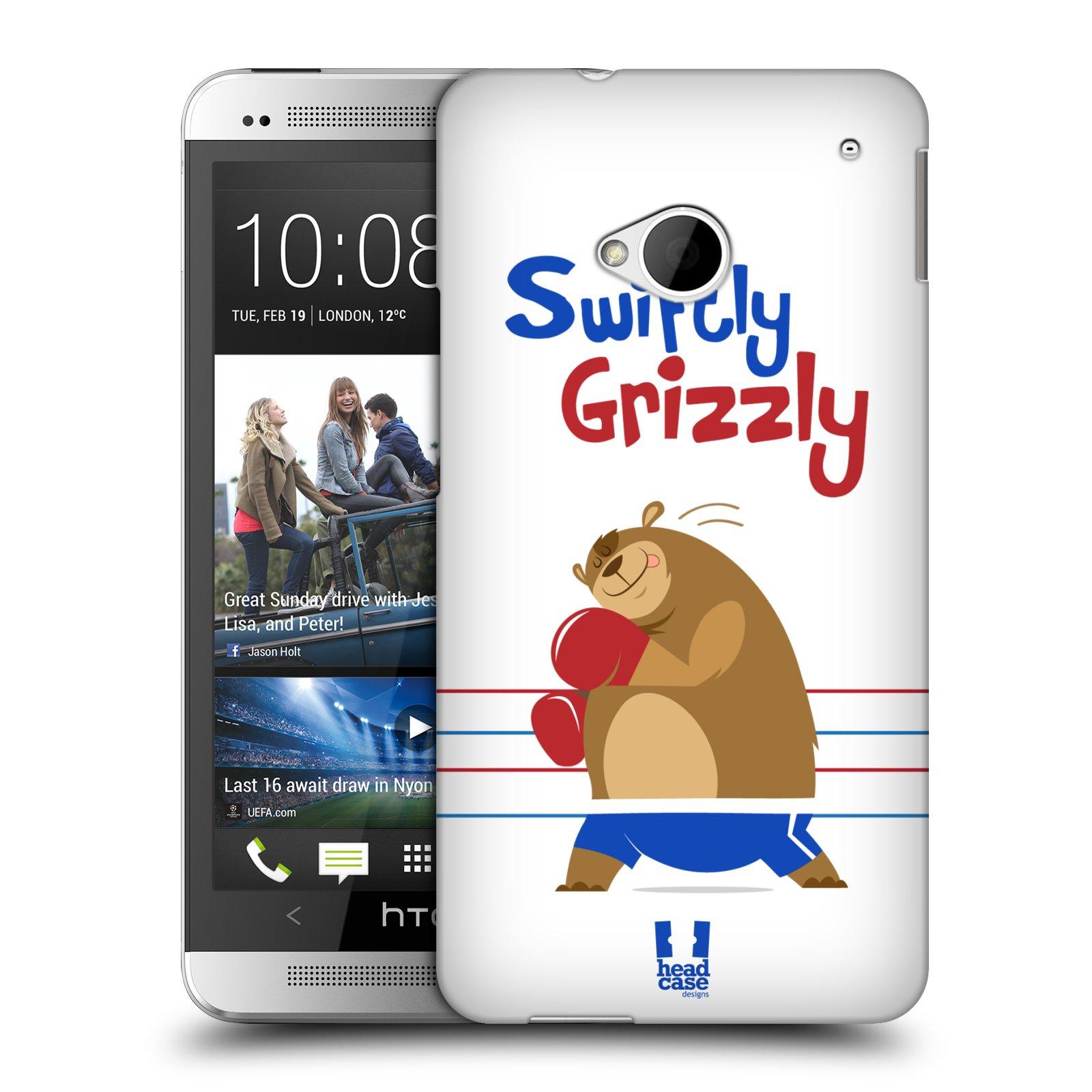HEAD CASE plastový obal na mobil HTC One (M7) vzor Zvířátka atleti medvěd boxér