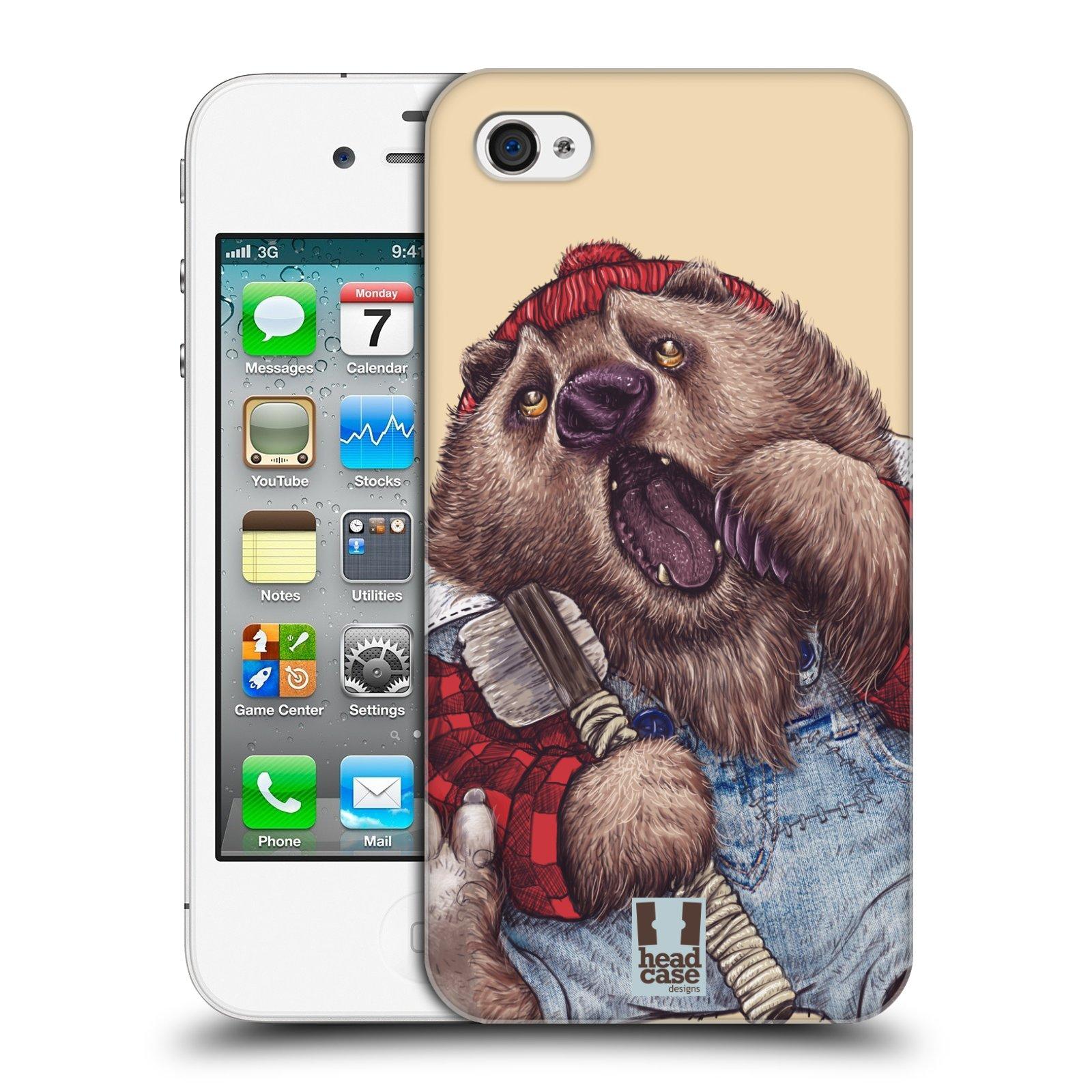 HEAD CASE plastový obal na mobil Apple Iphone 4/4S vzor Kreslená zvířátka medvěd