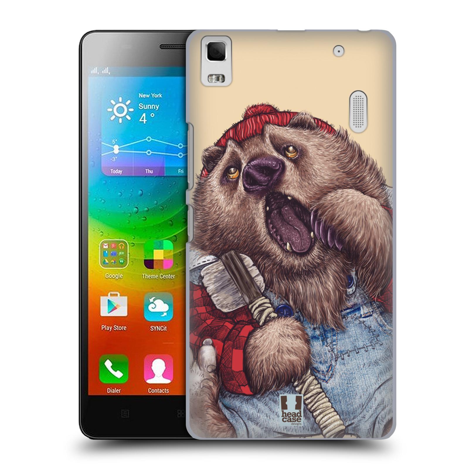 HEAD CASE pevný plastový obal na mobil LENOVO A7000 / A7000 DUAL / K3 NOTE vzor Kreslená zvířátka medvěd