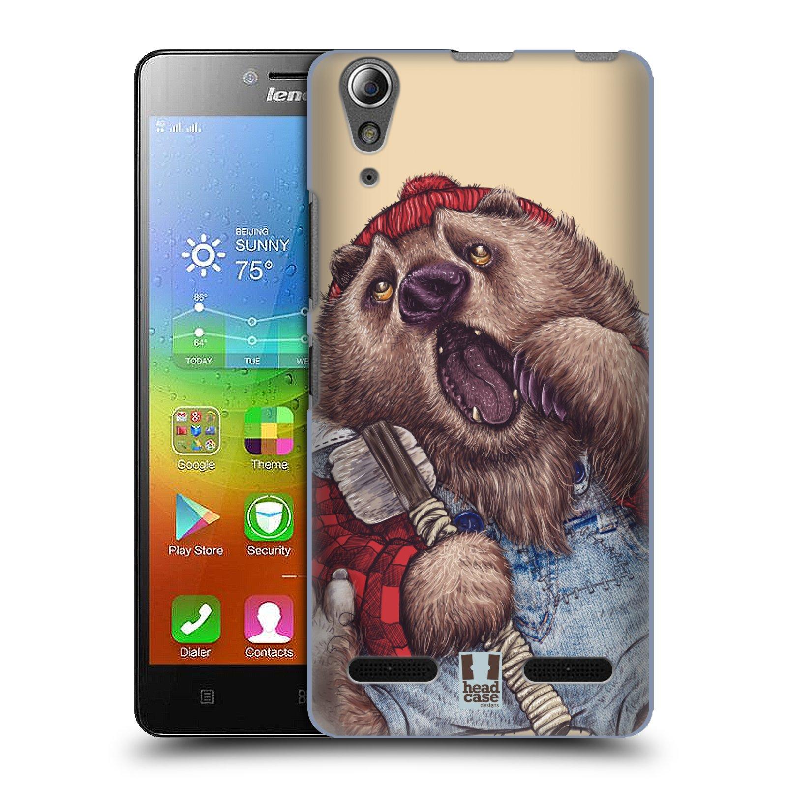 HEAD CASE pevný plastový obal na mobil LENOVO A6000 / A6000 PLUS vzor Kreslená zvířátka medvěd