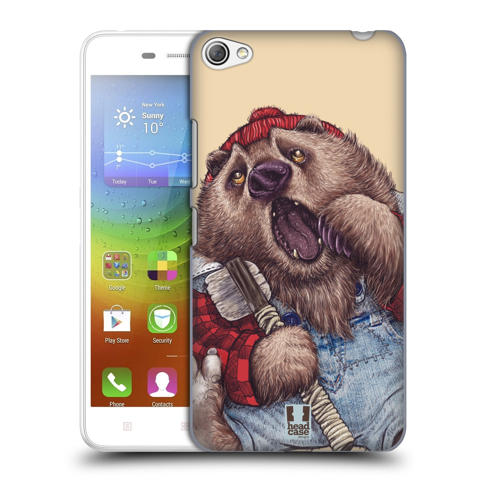 HEAD CASE pevný plastový obal na mobil LENOVO S60 / LENOVO S60 DUAL SIM vzor Kreslená zvířátka medvěd