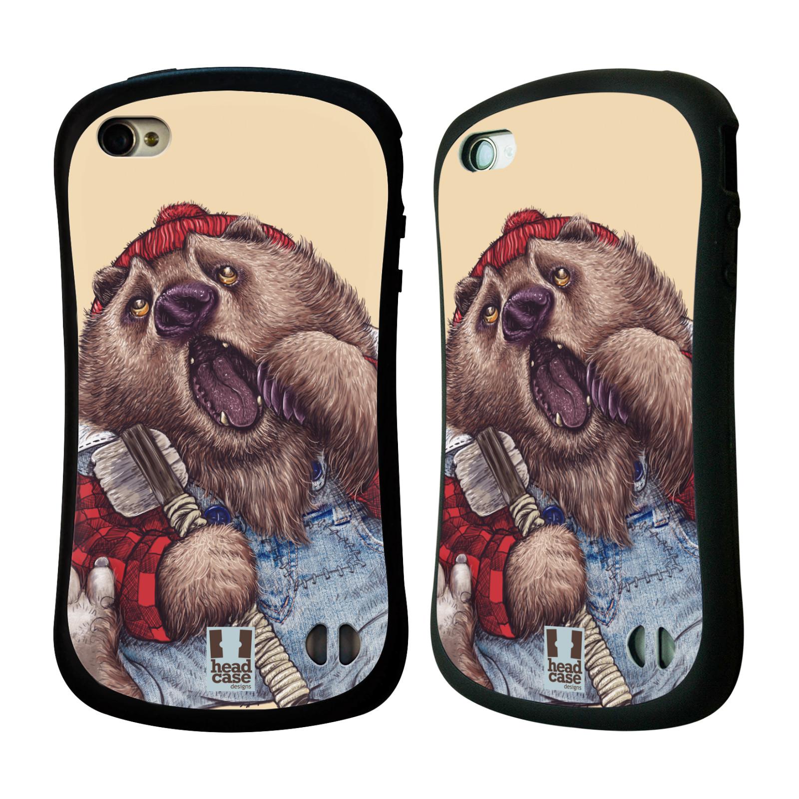 HEAD CASE silikon/plast odolný obal na mobil Apple Iphone 4/4S vzor Kreslená zvířátka medvěd
