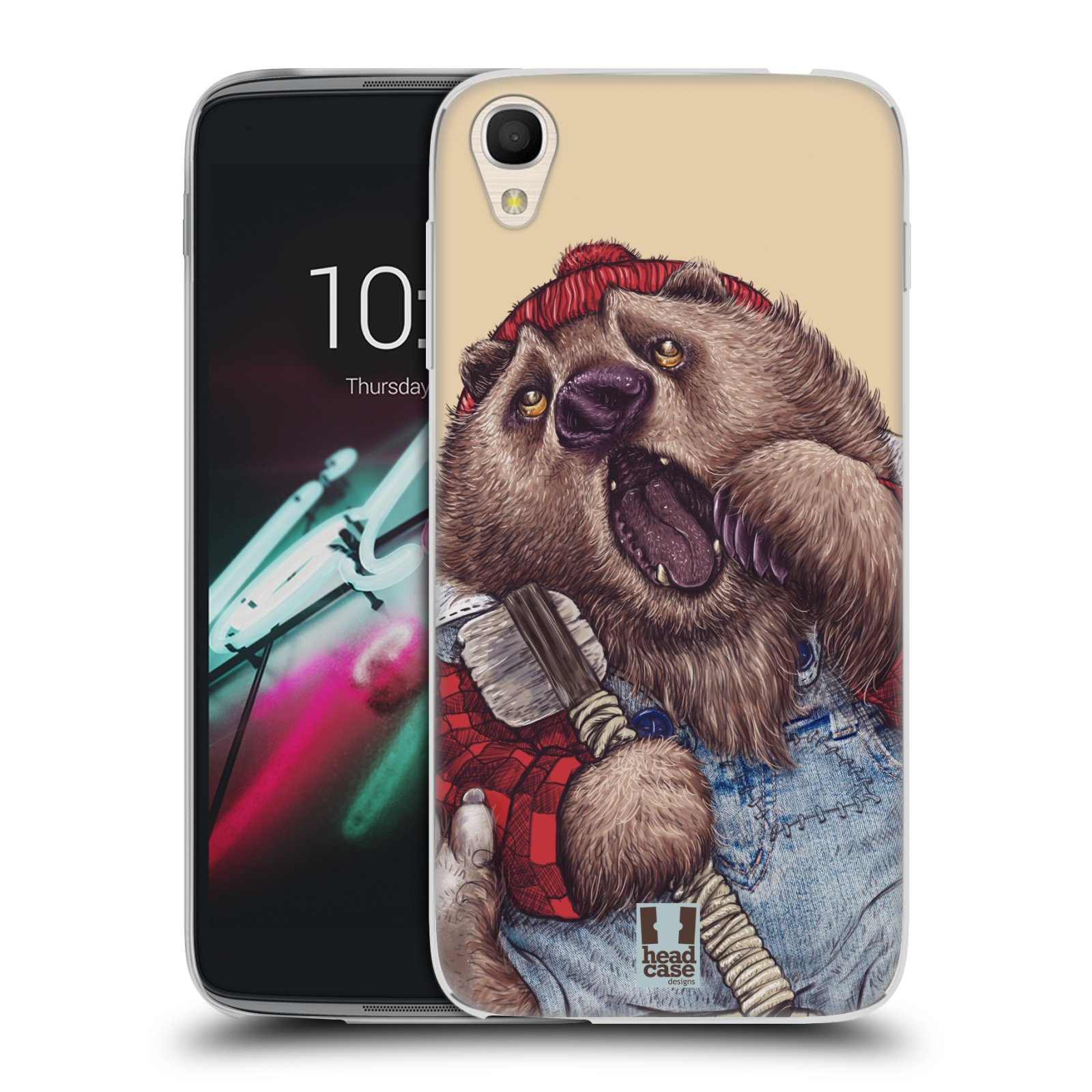 HEAD CASE silikonový obal na mobil Alcatel Idol 3 OT-6039Y (4.7) vzor Kreslená zvířátka medvěd