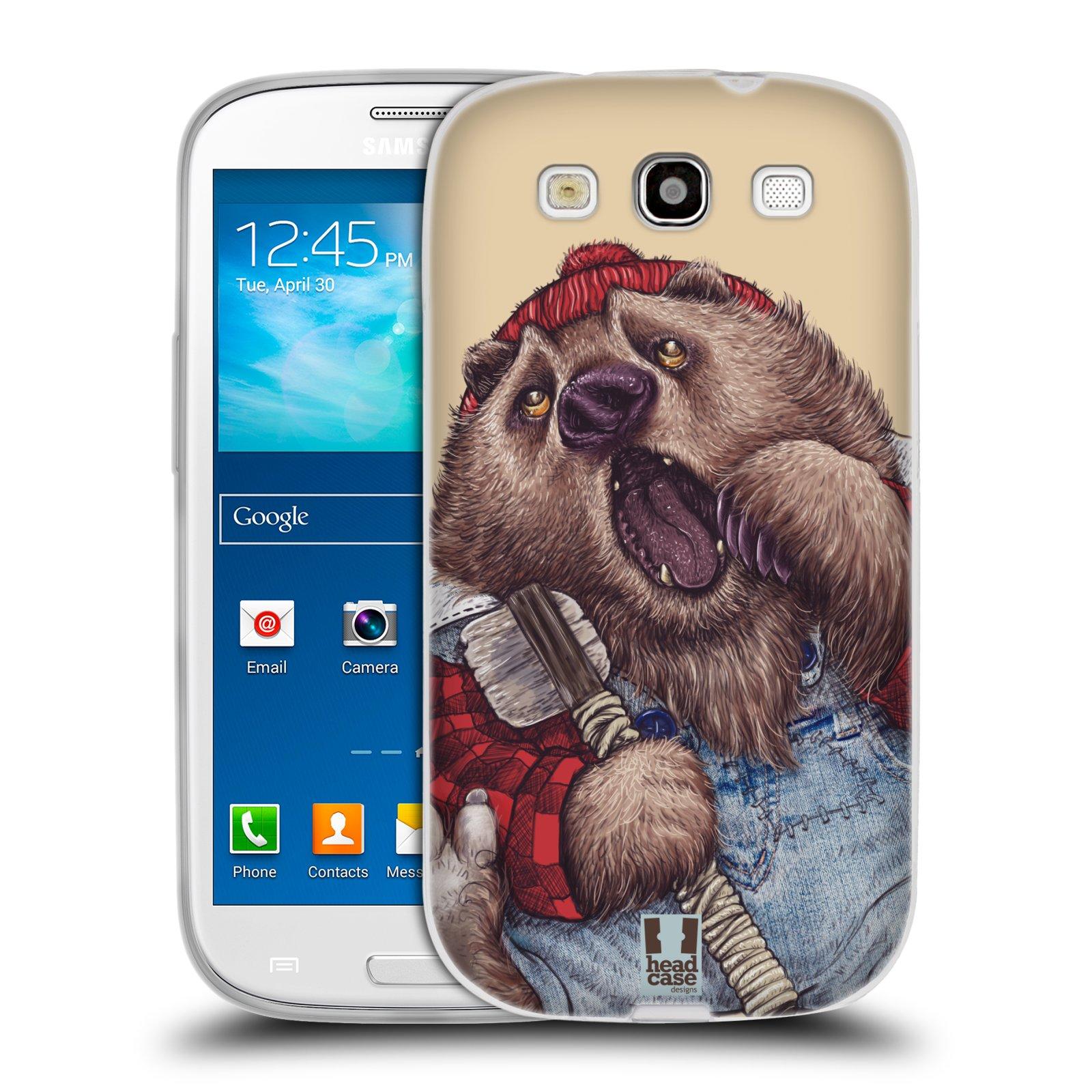 HEAD CASE silikonový obal na mobil Samsung Galaxy S3 i9300 vzor Kreslená zvířátka medvěd