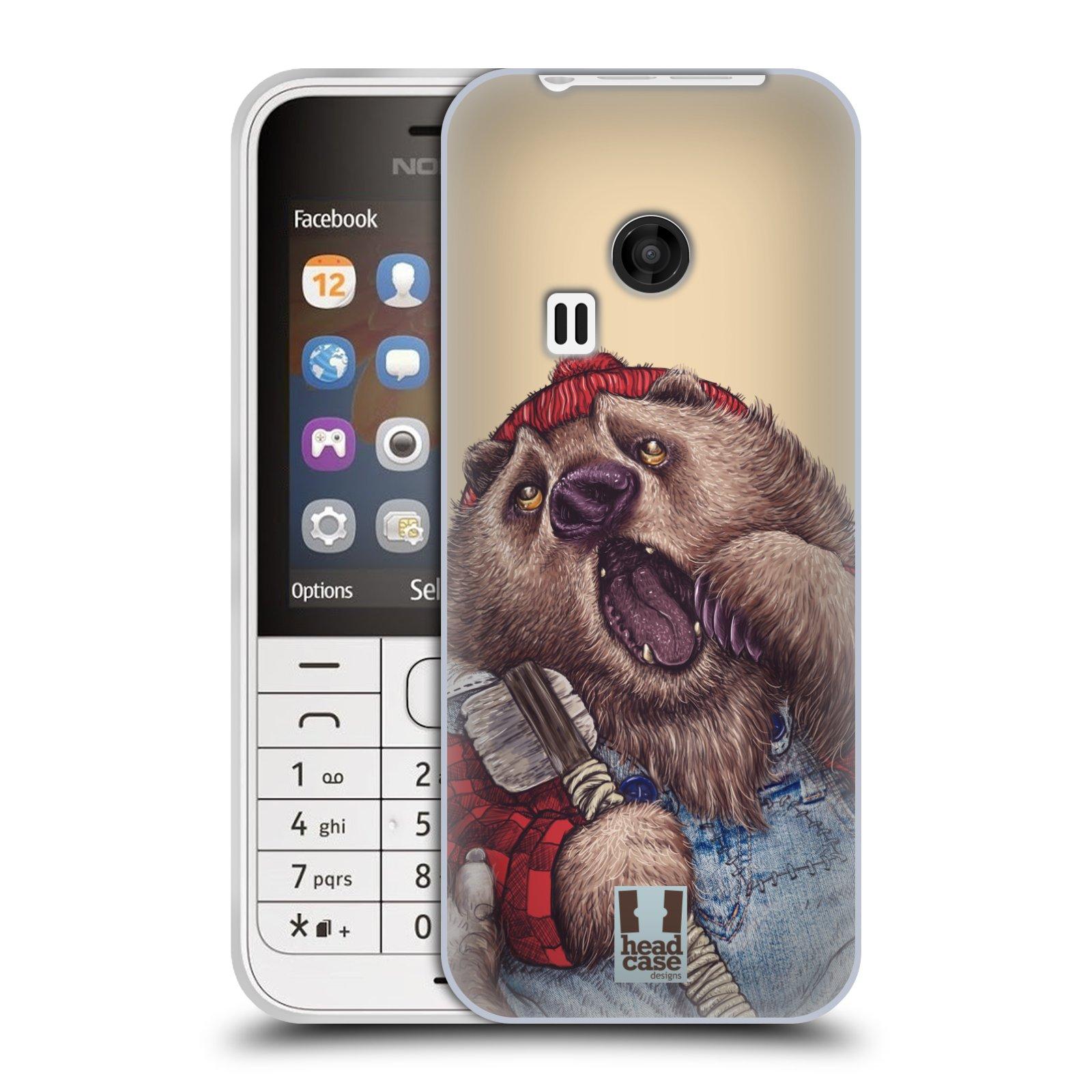 HEAD CASE silikonový obal na mobil NOKIA 220 / NOKIA 220 DUAL SIM vzor Kreslená zvířátka medvěd