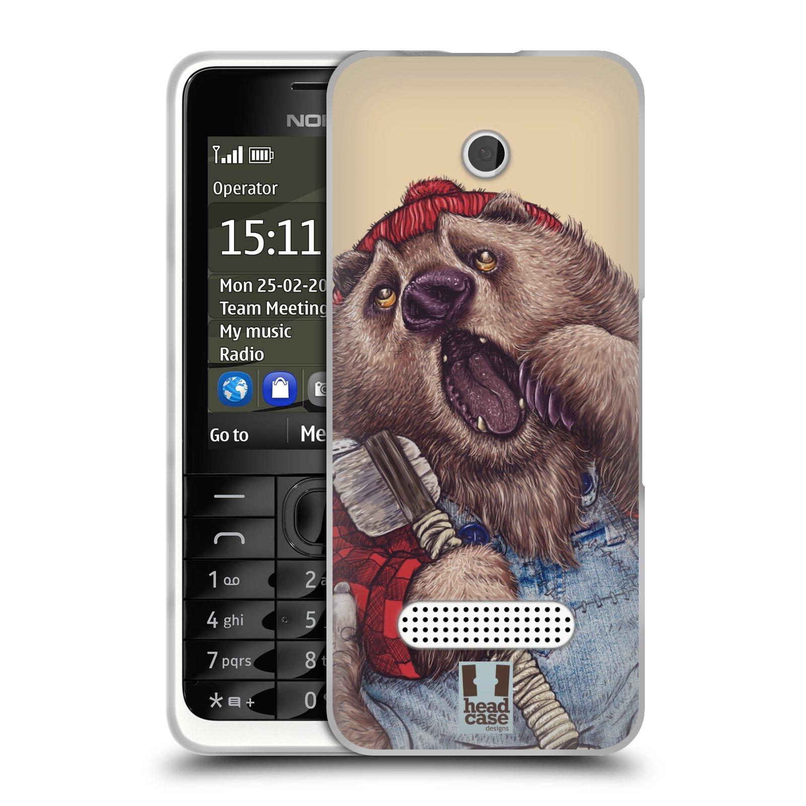 HEAD CASE silikonový obal na mobil NOKIA 301 vzor Kreslená zvířátka medvěd
