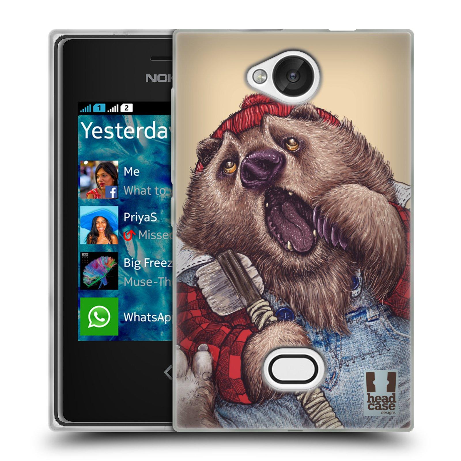 HEAD CASE silikonový obal na mobil NOKIA Asha 503 vzor Kreslená zvířátka medvěd