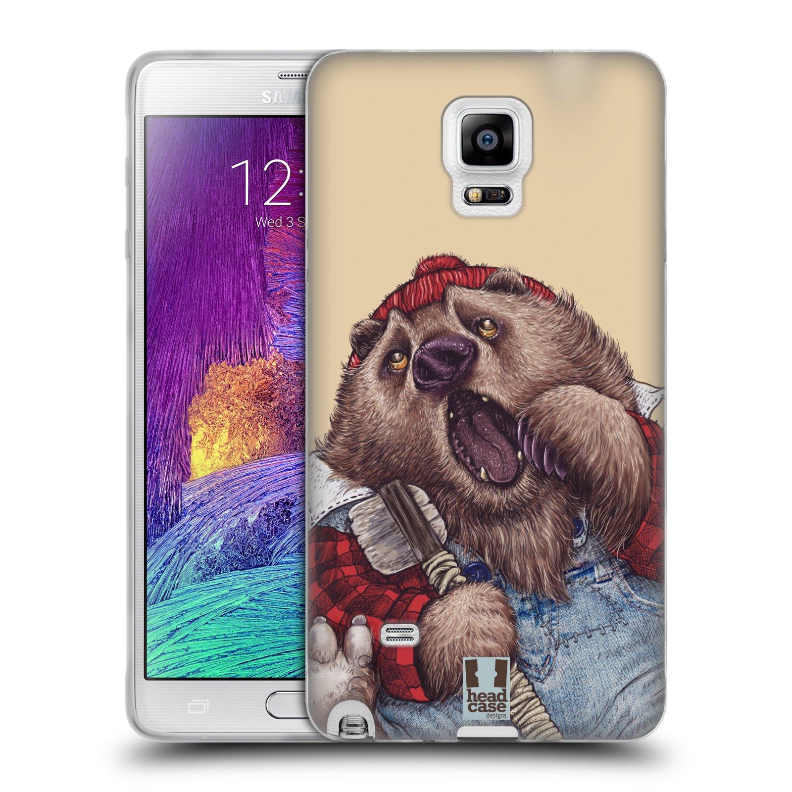 HEAD CASE silikonový obal na mobil Samsung Galaxy Note 4 (N910) vzor Kreslená zvířátka medvěd