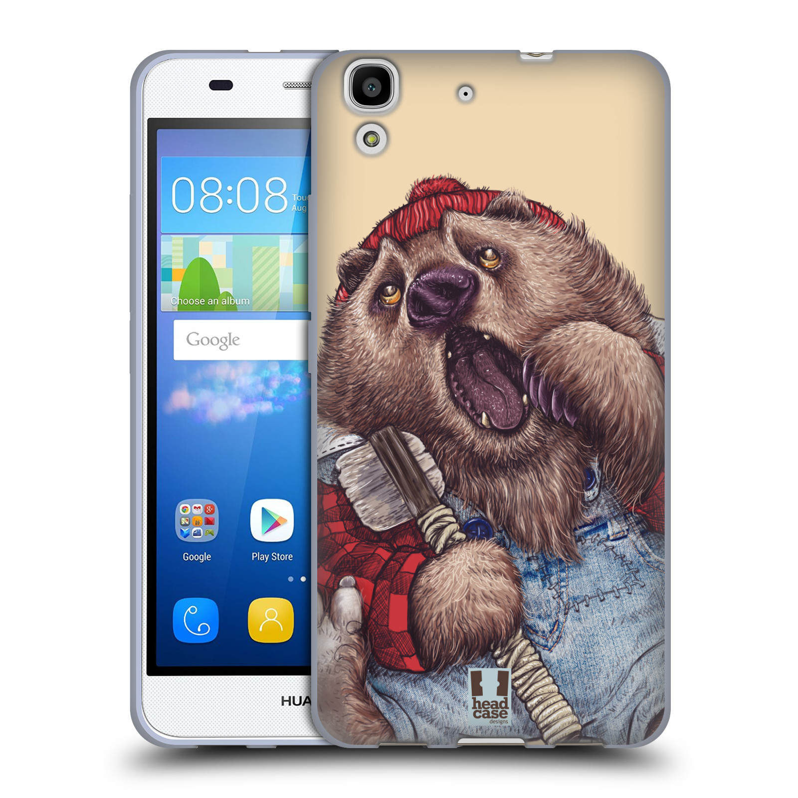 HEAD CASE silikonový obal na mobil HUAWEI Y6 vzor Kreslená zvířátka medvěd