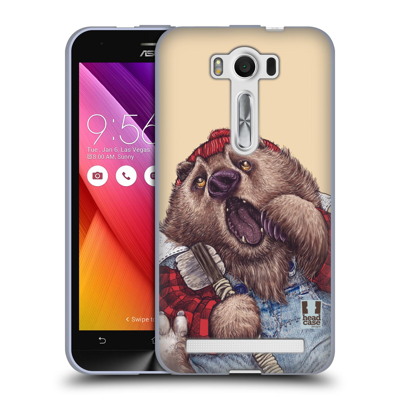 "HEAD CASE silikonový obal na mobil Asus Zenfone 2 LASER (ZE500KL s 5"" displejem) vzor Kreslená zvířátka medvěd"