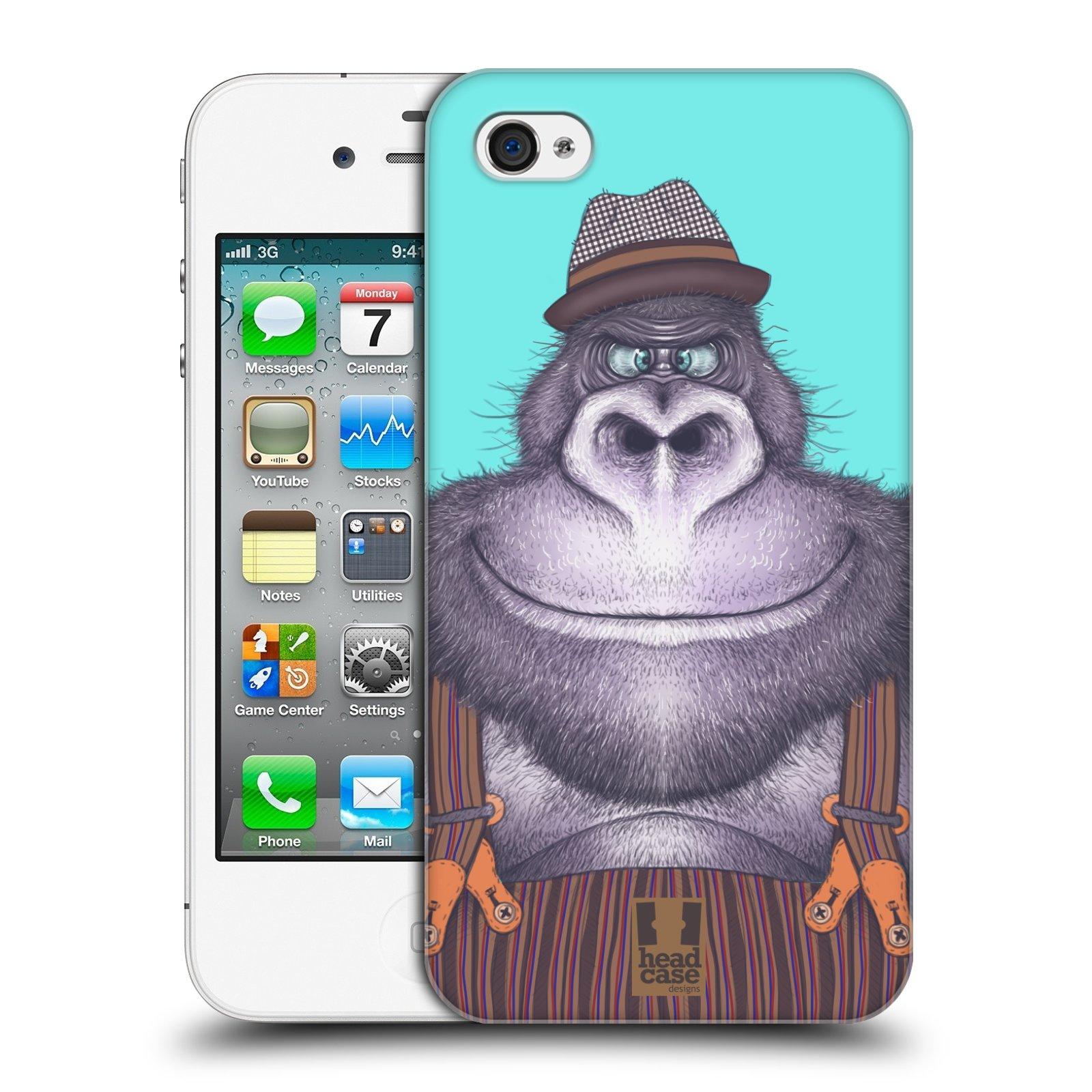 HEAD CASE plastový obal na mobil Apple Iphone 4/4S vzor Kreslená zvířátka gorila