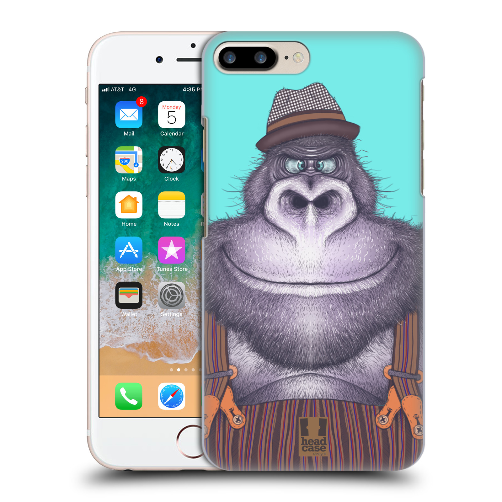 HEAD CASE plastový obal na mobil Apple Iphone 7 PLUS vzor Kreslená zvířátka gorila