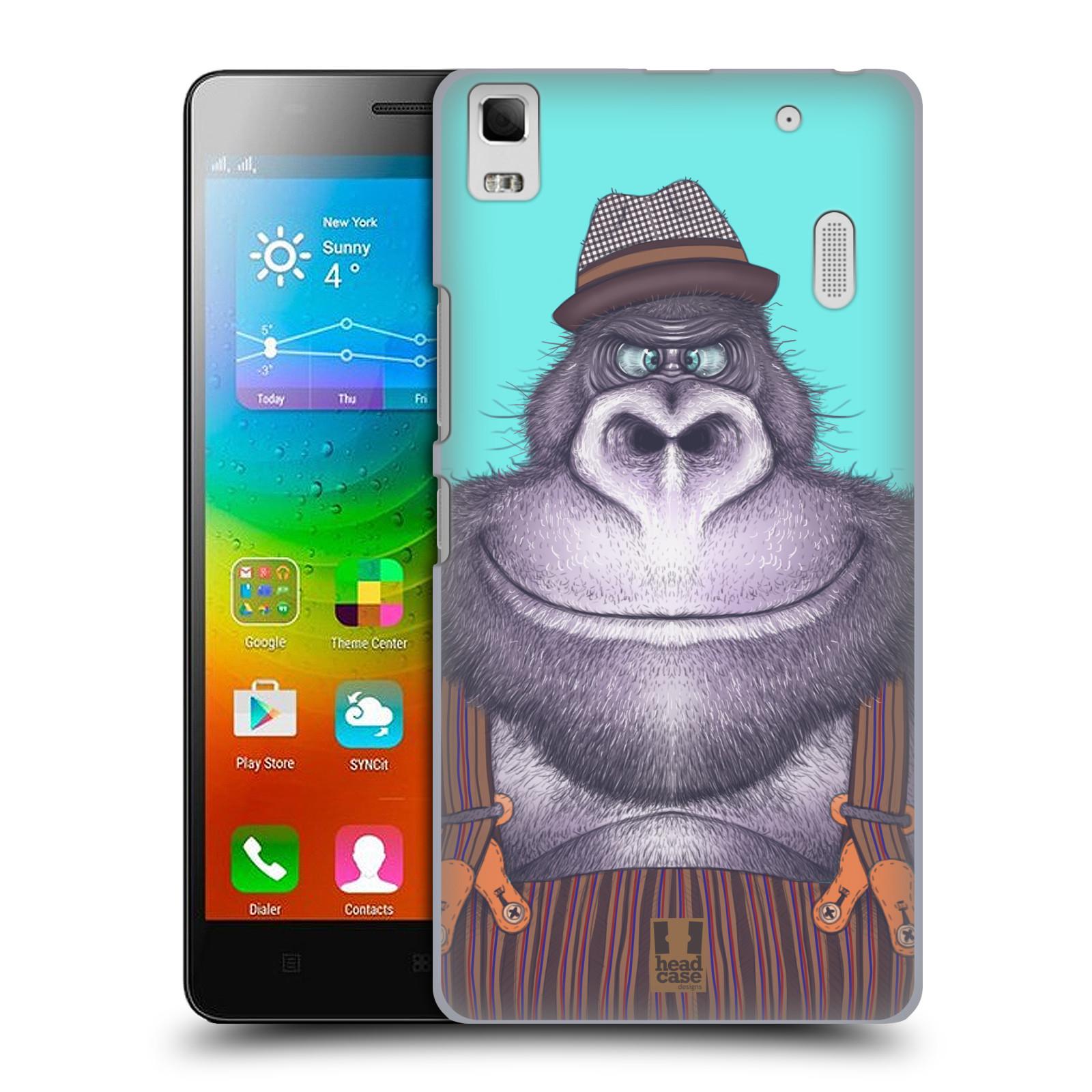 HEAD CASE pevný plastový obal na mobil LENOVO A7000 / A7000 DUAL / K3 NOTE vzor Kreslená zvířátka gorila