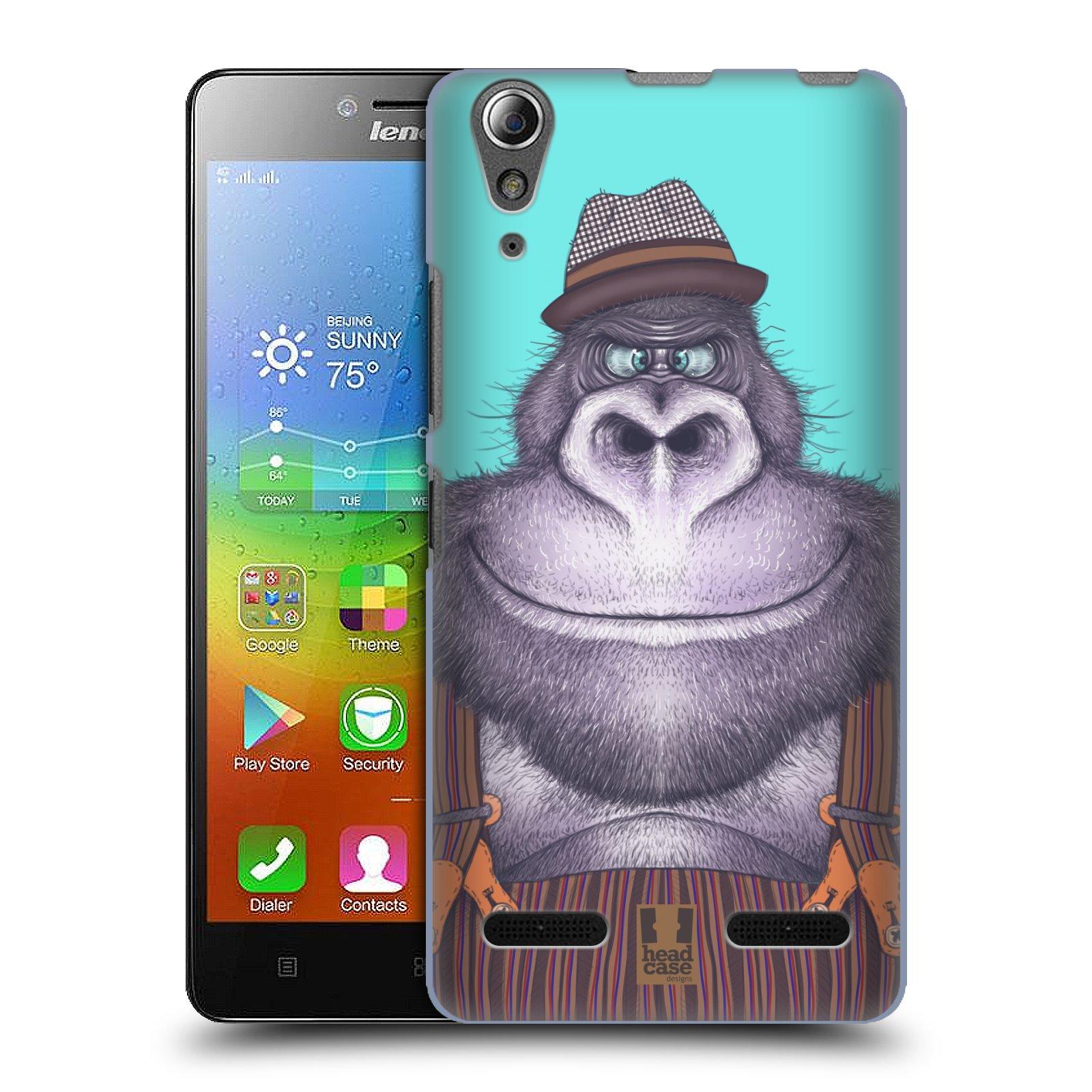 HEAD CASE pevný plastový obal na mobil LENOVO A6000 / A6000 PLUS vzor Kreslená zvířátka gorila