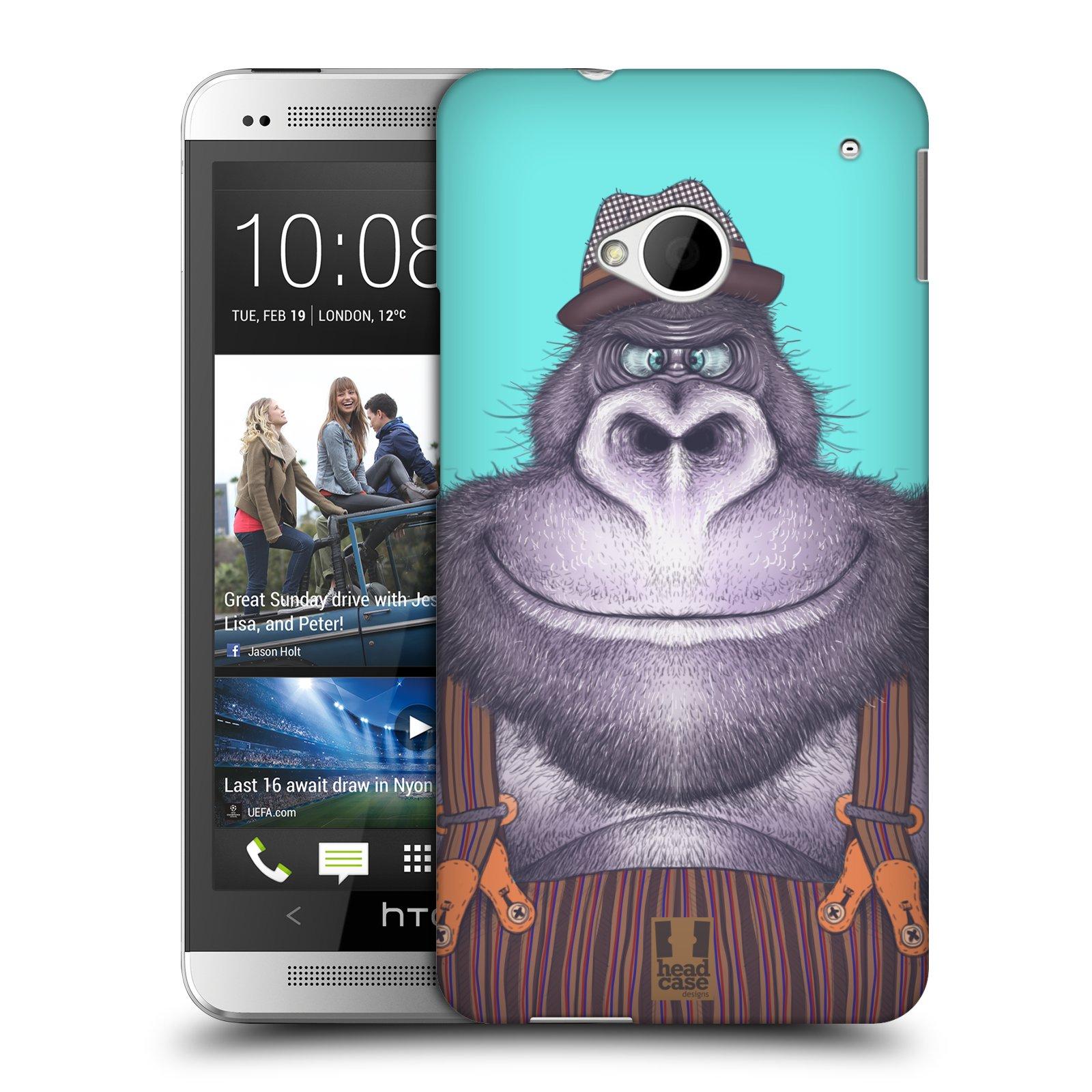 HEAD CASE plastový obal na mobil HTC One (M7) vzor Kreslená zvířátka gorila