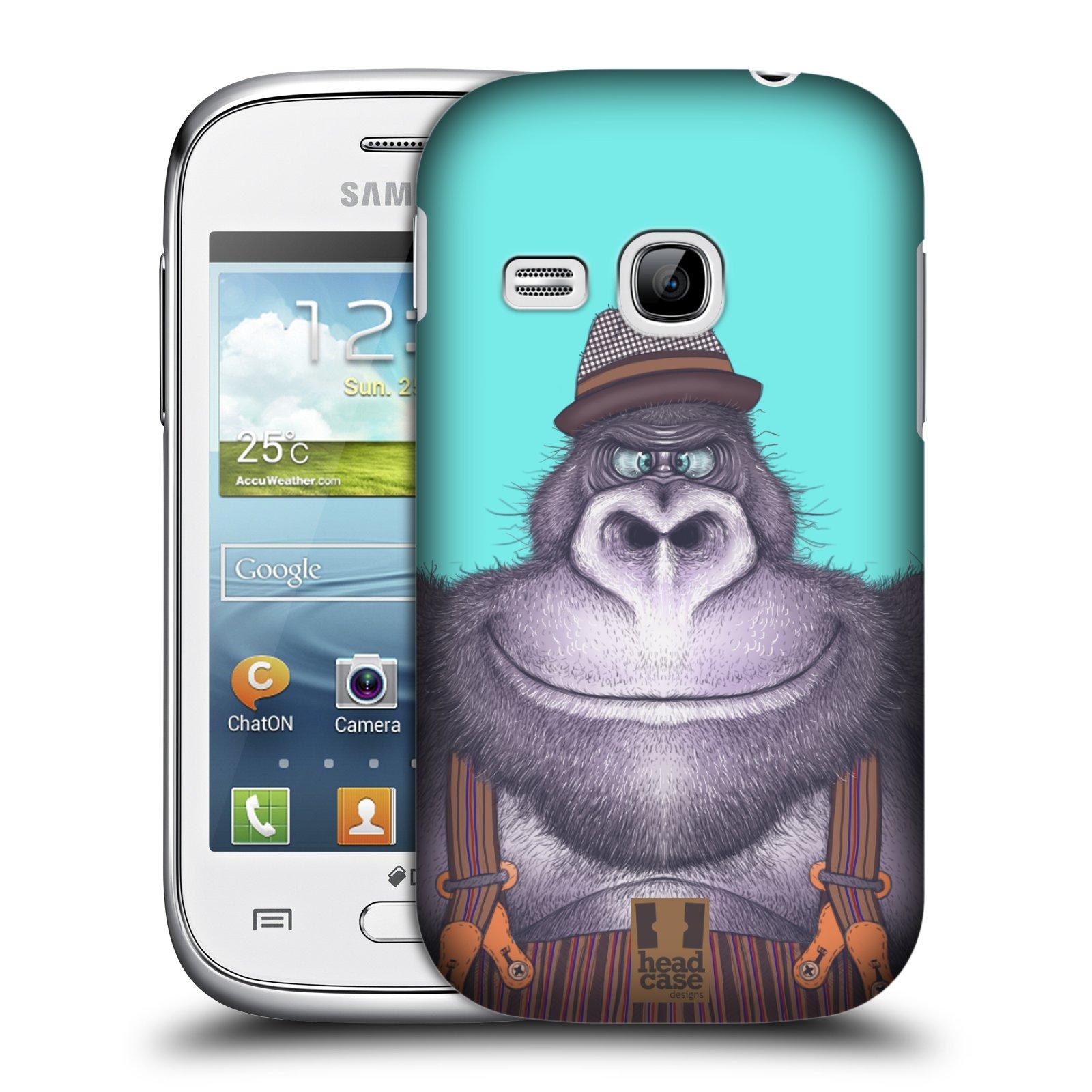 HEAD CASE plastový obal na mobil SAMSUNG Galaxy Young S6310 vzor Kreslená zvířátka gorila