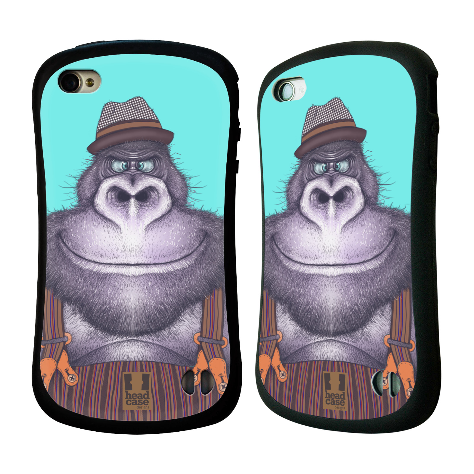 HEAD CASE silikon/plast odolný obal na mobil Apple Iphone 4/4S vzor Kreslená zvířátka gorila