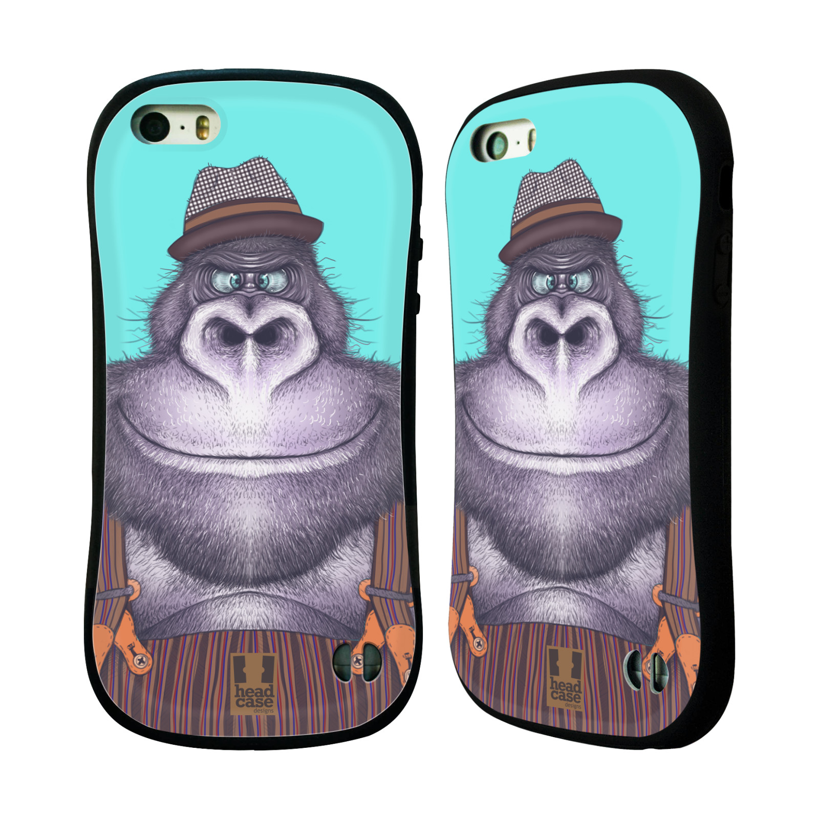 HEAD CASE silikon/plast odolný obal na mobil Apple Iphone 5/5S vzor Kreslená zvířátka gorila