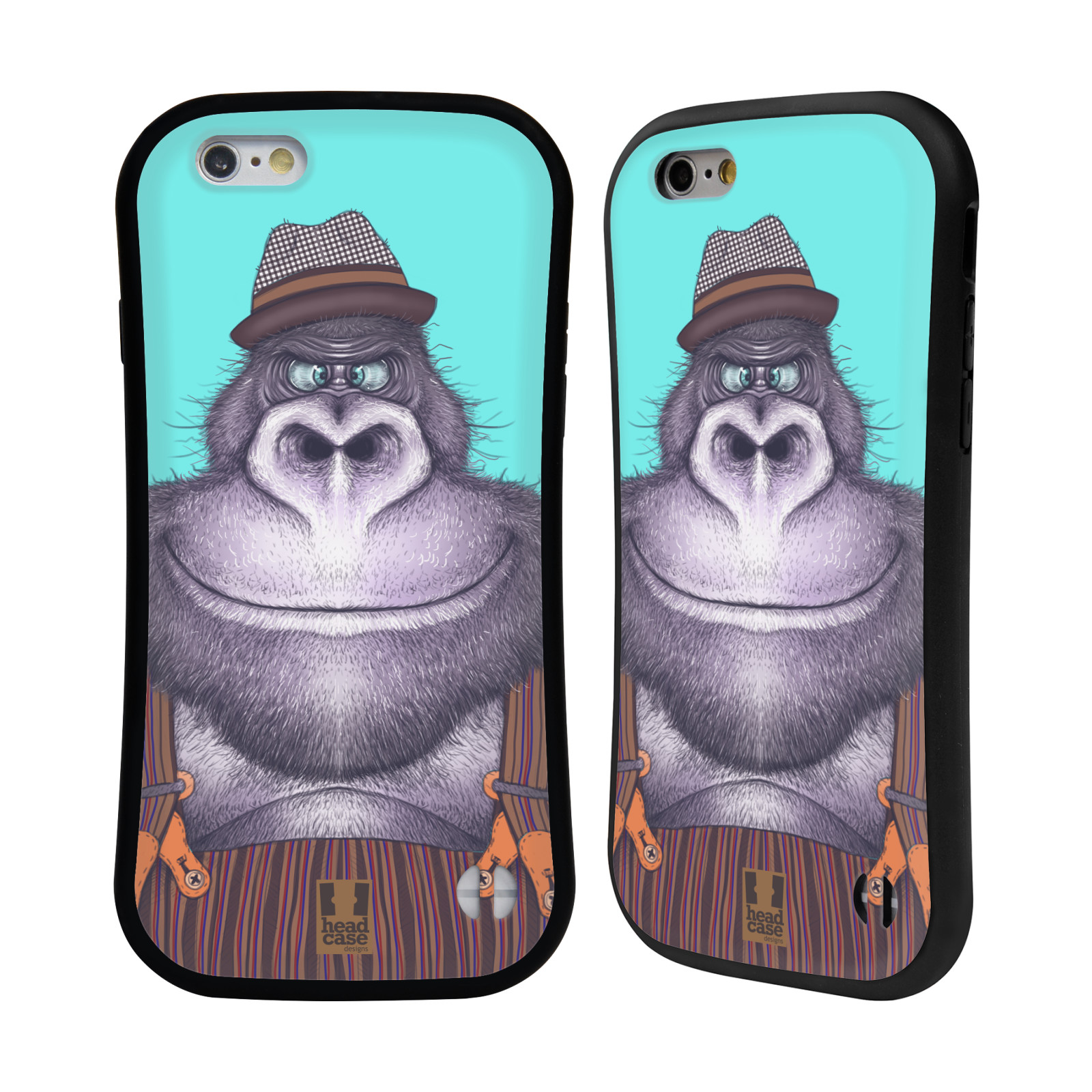 HEAD CASE silikon/plast odolný obal na mobil Apple Iphone 6/6S vzor Kreslená zvířátka gorila