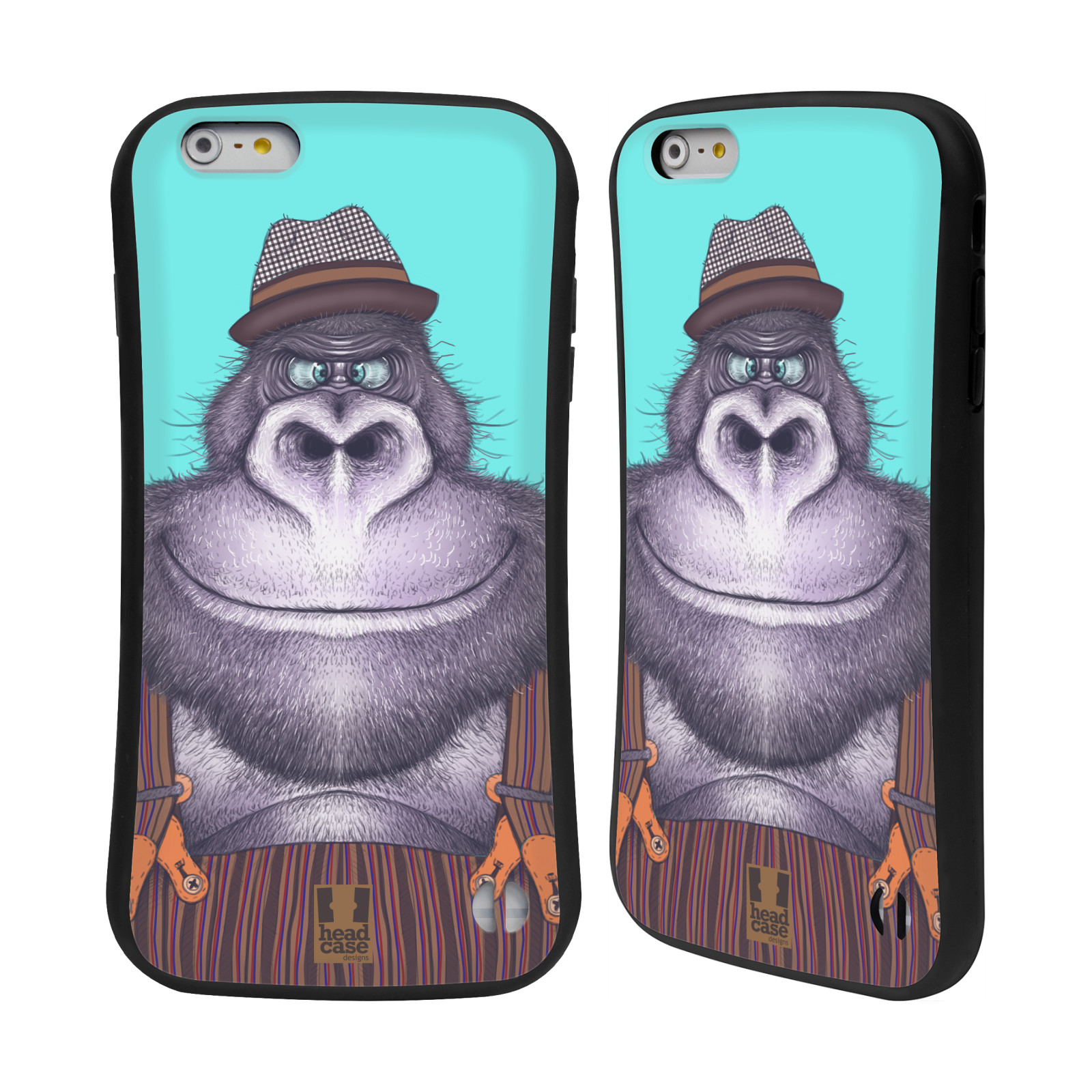 HEAD CASE silikon/plast odolný obal na mobil Apple Iphone 6 PLUS / 6S PLUS vzor Kreslená zvířátka gorila