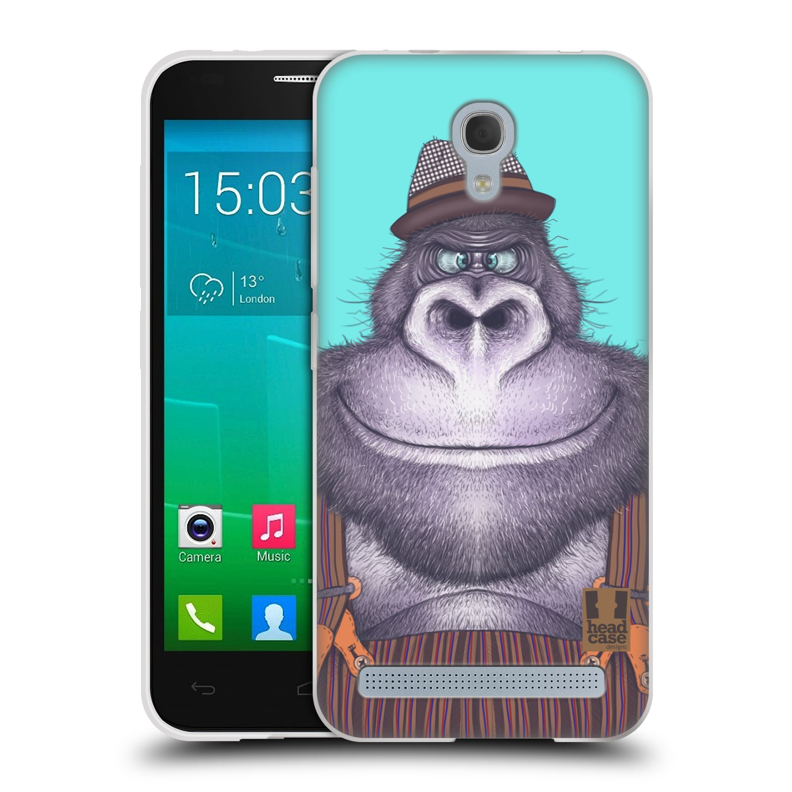 HEAD CASE silikonový obal na mobil Alcatel Idol 2 MINI S 6036Y vzor Kreslená zvířátka gorila