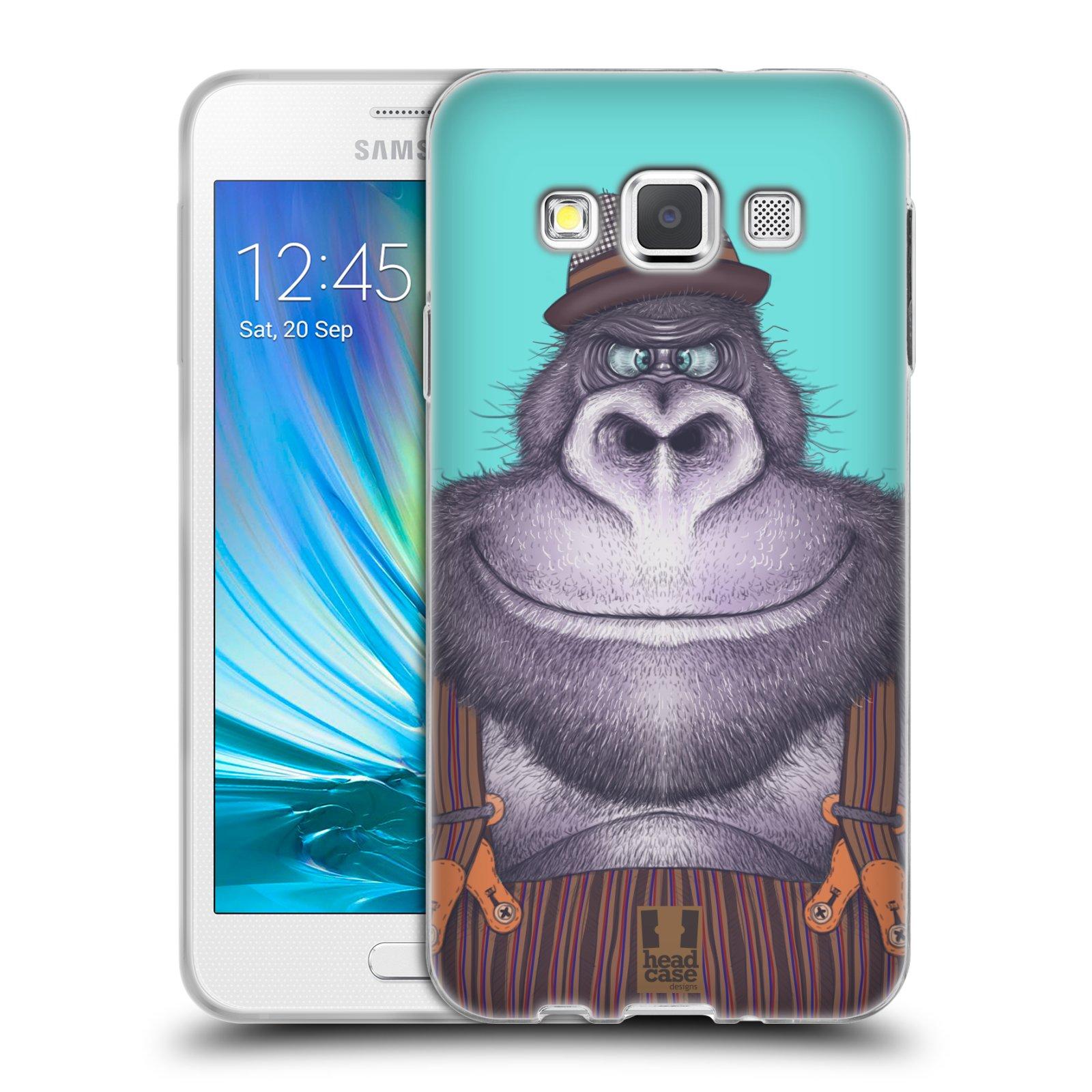 HEAD CASE silikonový obal na mobil Samsung Galaxy A3 vzor Kreslená zvířátka gorila