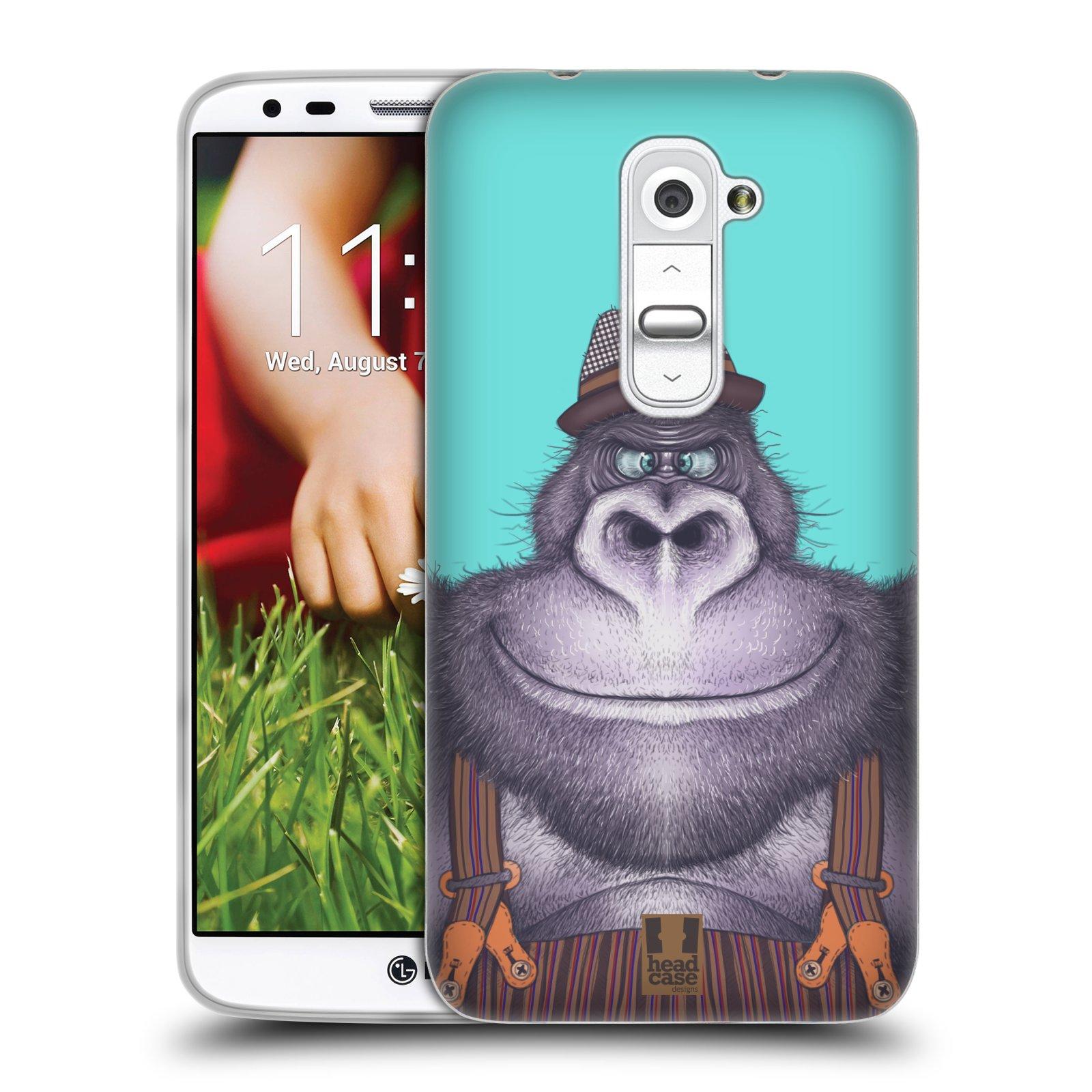 HEAD CASE silikonový obal na mobil LG G2 vzor Kreslená zvířátka gorila