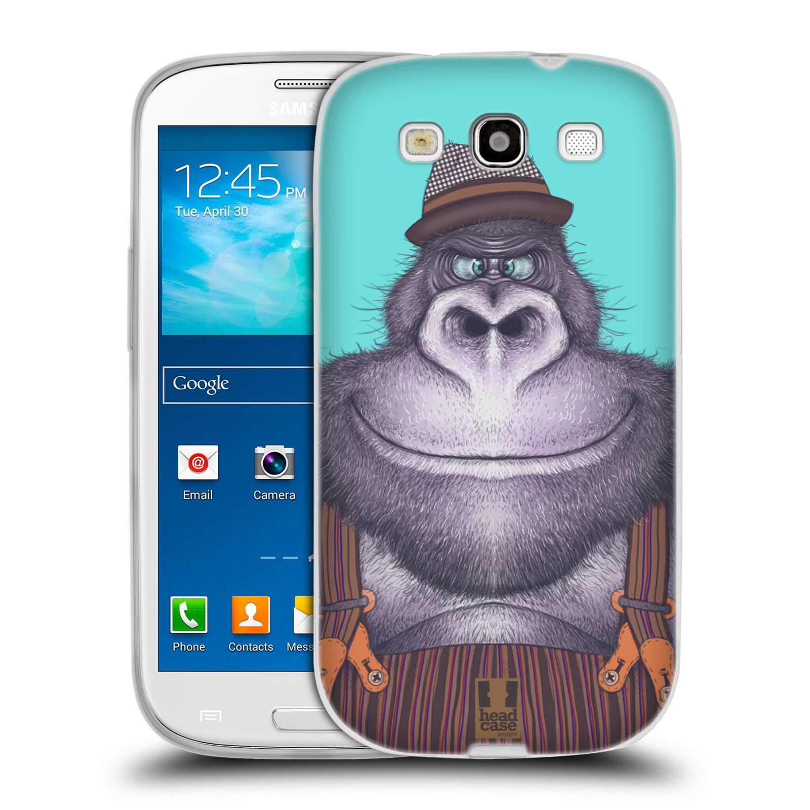 HEAD CASE silikonový obal na mobil Samsung Galaxy S3 i9300 vzor Kreslená zvířátka gorila