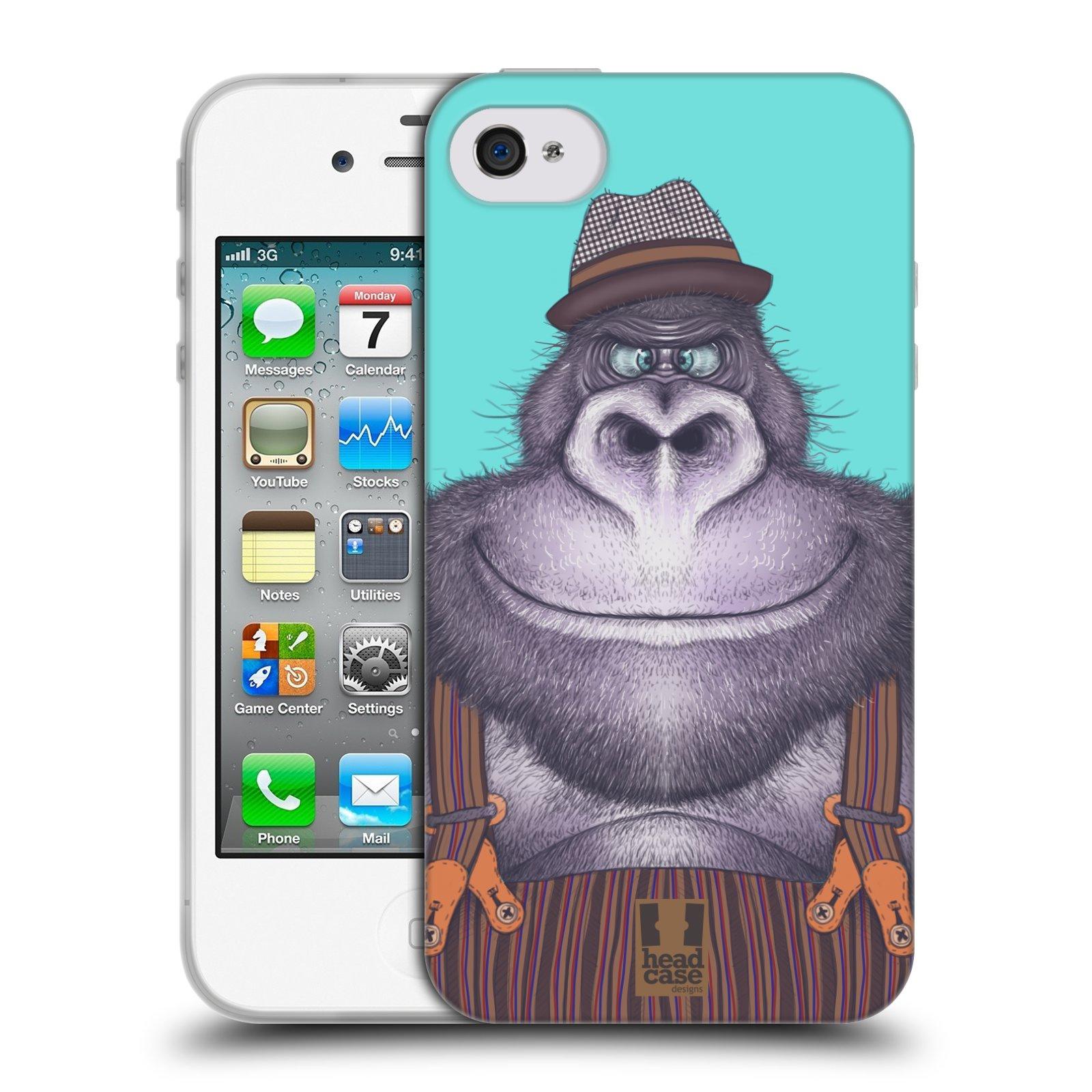 HEAD CASE silikonový obal na mobil Apple Iphone 4/4S vzor Kreslená zvířátka gorila
