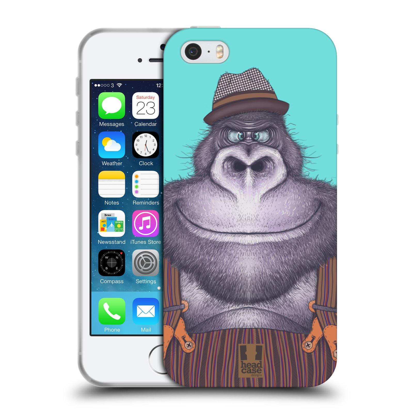 HEAD CASE silikonový obal na mobil Apple Iphone 5/5S vzor Kreslená zvířátka gorila