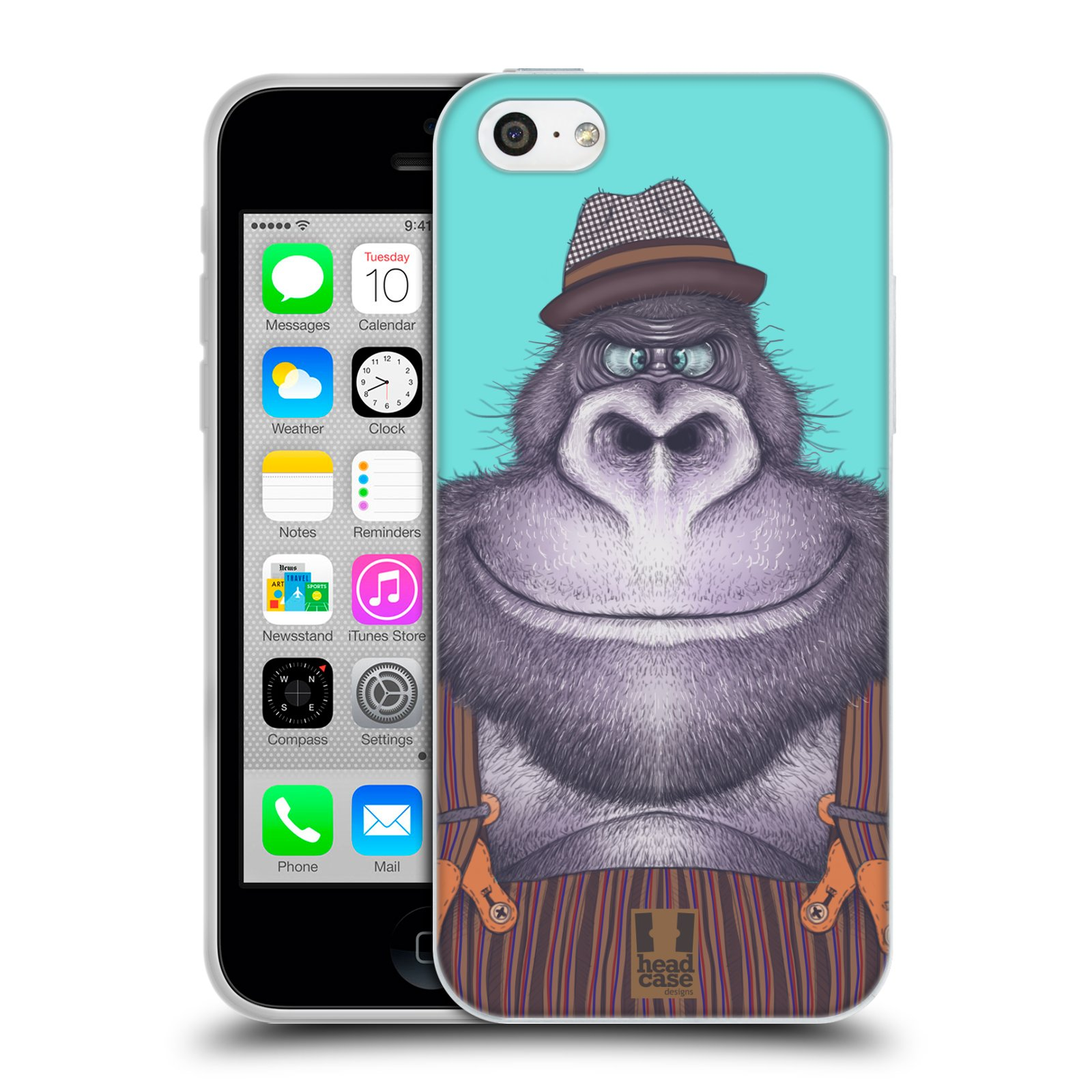 HEAD CASE silikonový obal na mobil Apple Iphone 5C vzor Kreslená zvířátka gorila