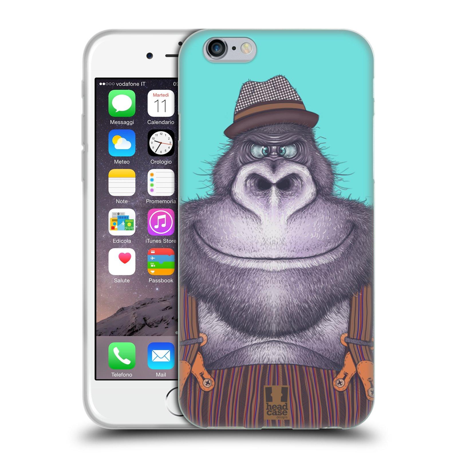 HEAD CASE silikonový obal na mobil Apple Iphone 6/6S vzor Kreslená zvířátka gorila