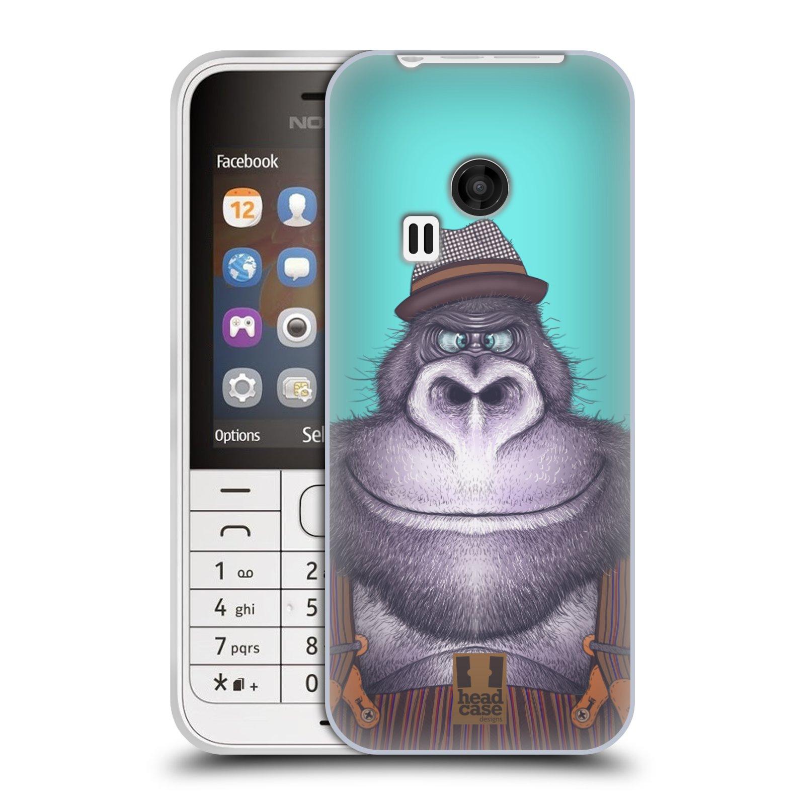 HEAD CASE silikonový obal na mobil NOKIA 220 / NOKIA 220 DUAL SIM vzor Kreslená zvířátka gorila