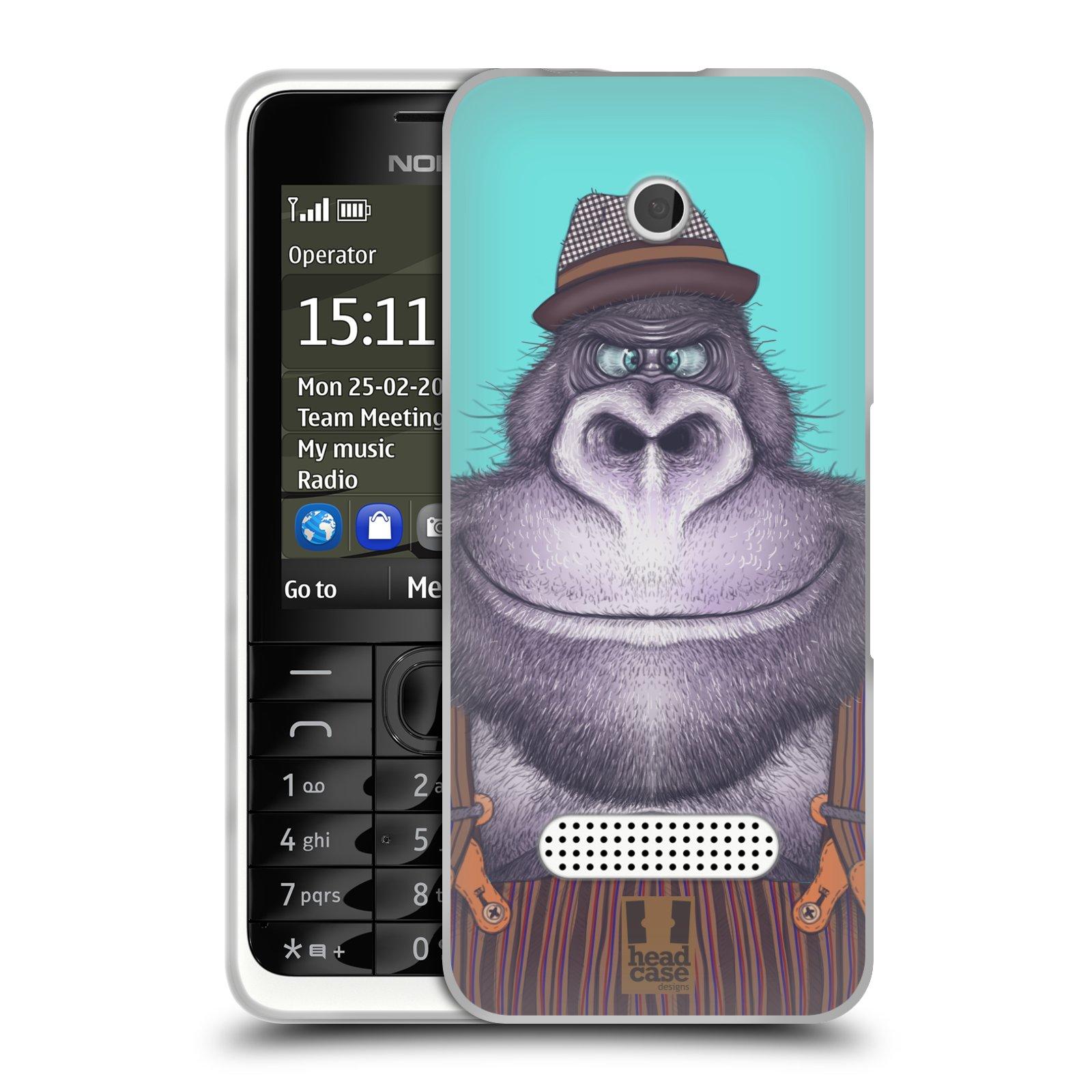HEAD CASE silikonový obal na mobil NOKIA 301 vzor Kreslená zvířátka gorila