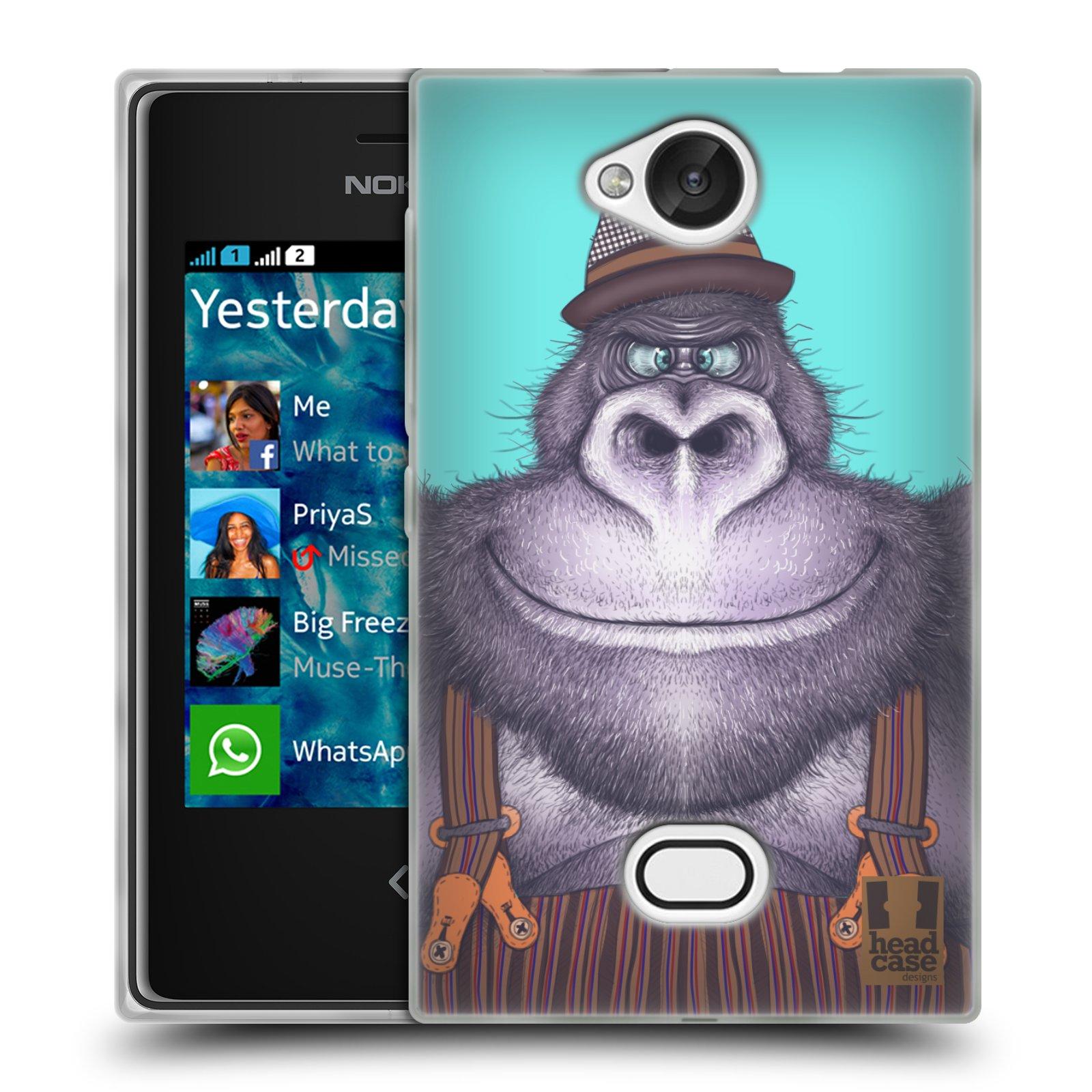 HEAD CASE silikonový obal na mobil NOKIA Asha 503 vzor Kreslená zvířátka gorila