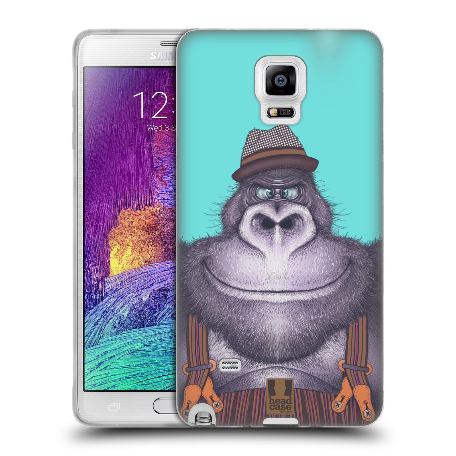 HEAD CASE silikonový obal na mobil Samsung Galaxy Note 4 (N910) vzor Kreslená zvířátka gorila