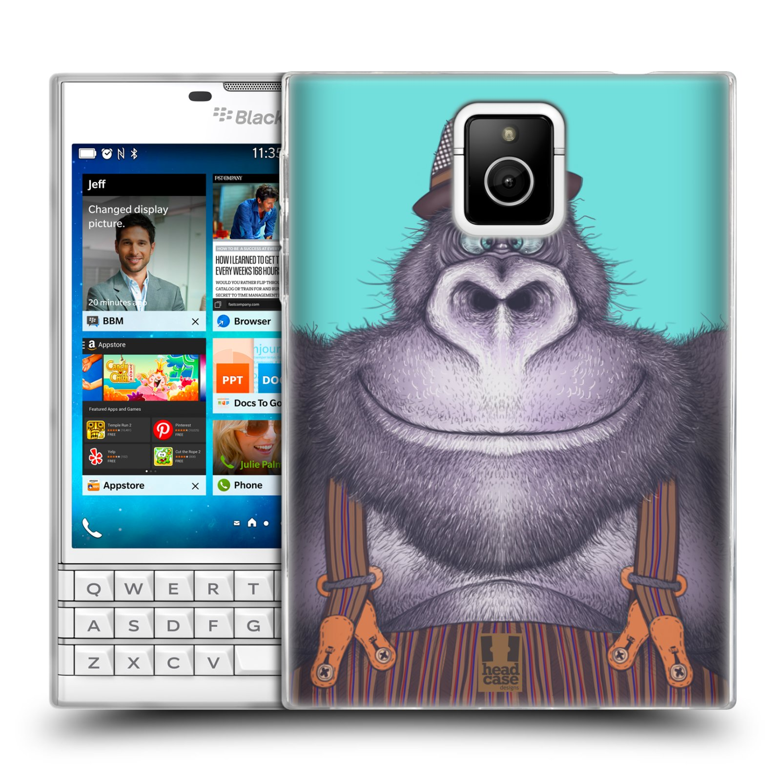 HEAD CASE silikonový obal na mobil Blackberry PASSPORT vzor Kreslená zvířátka gorila